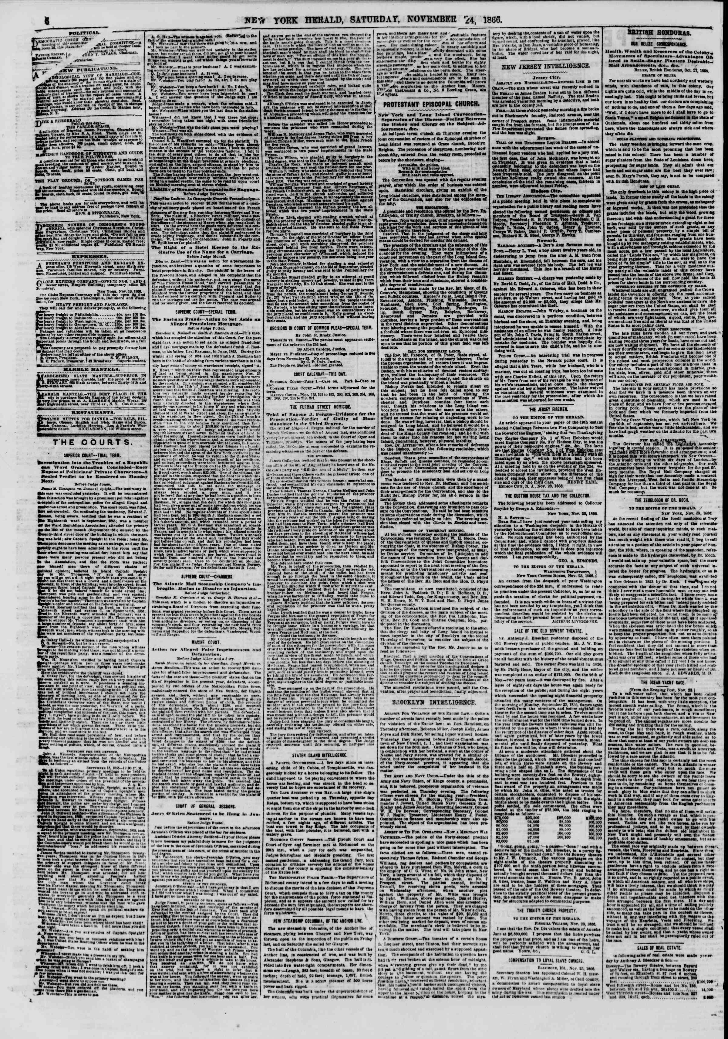 Newspaper of The New York Herald dated November 24, 1866 Page 6
