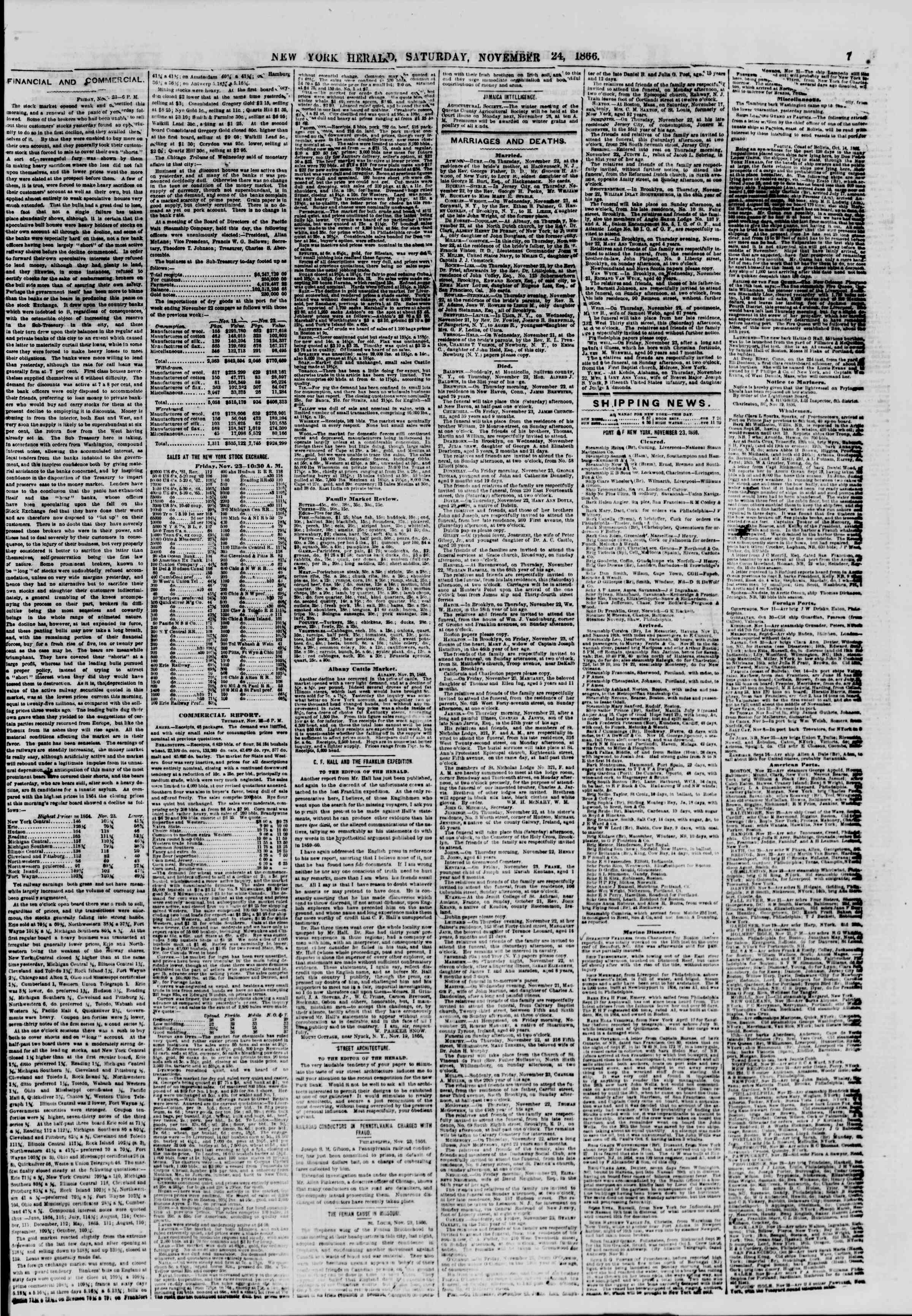 Newspaper of The New York Herald dated November 24, 1866 Page 7