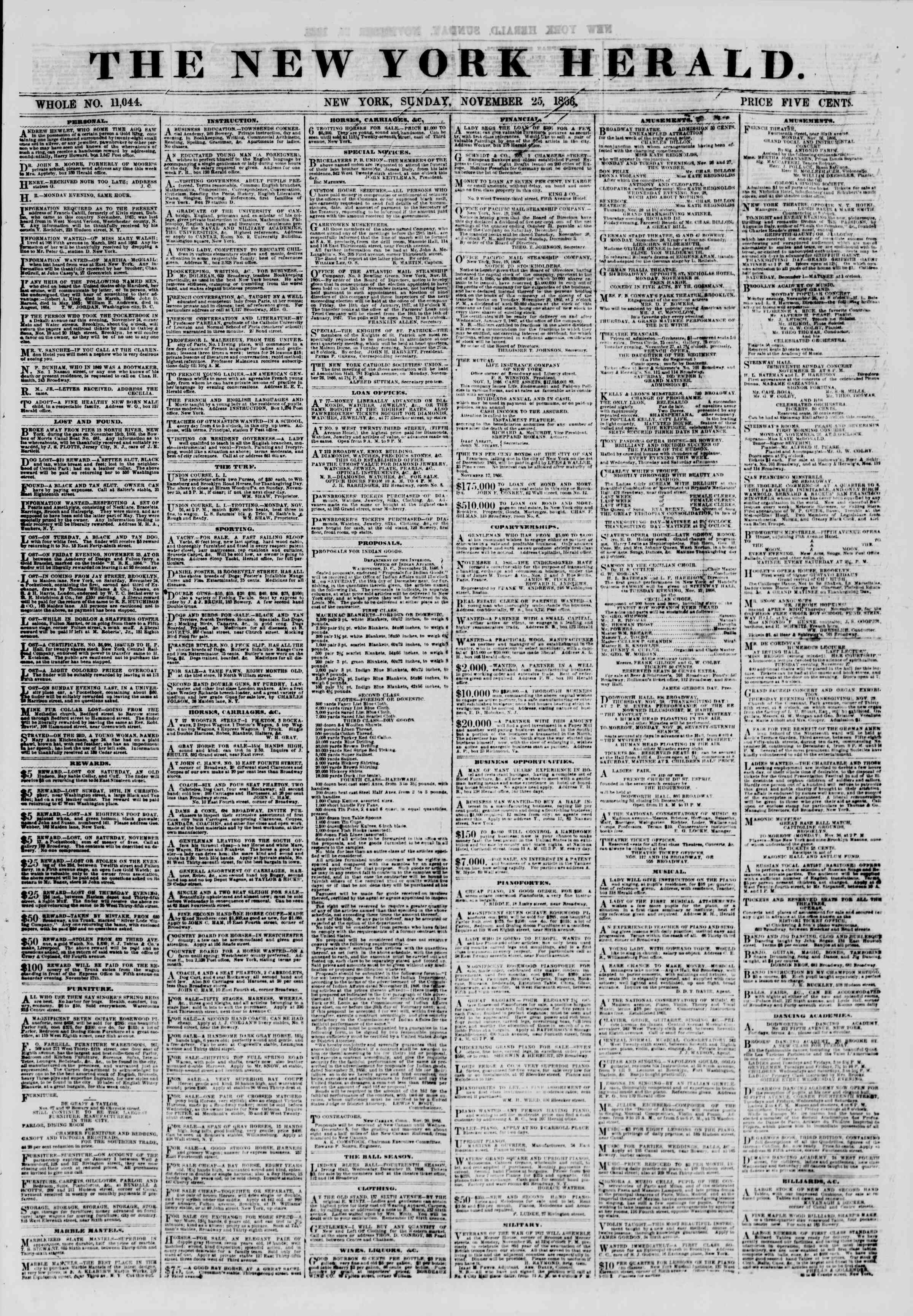 Newspaper of The New York Herald dated November 25, 1866 Page 1