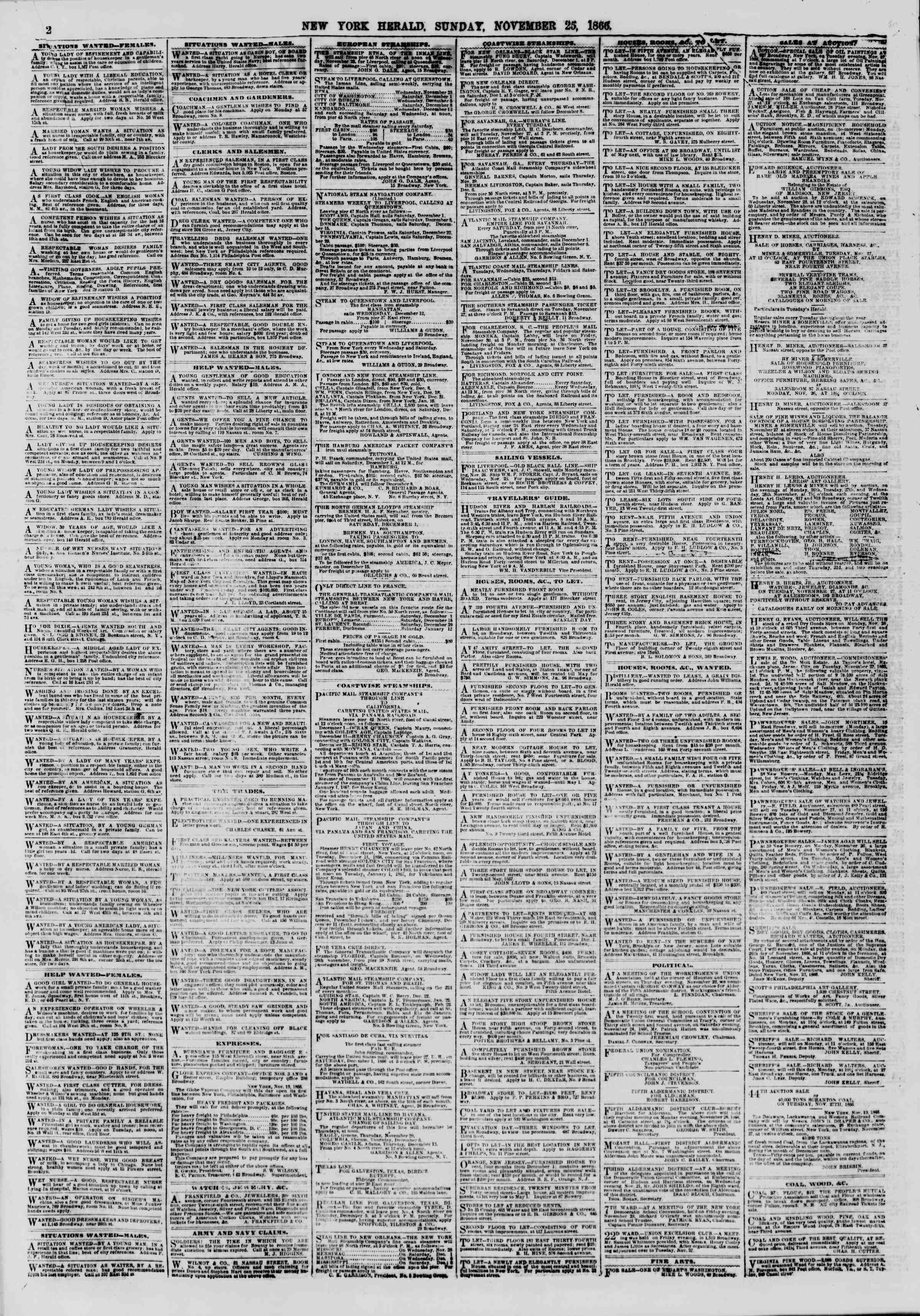 Newspaper of The New York Herald dated November 25, 1866 Page 2