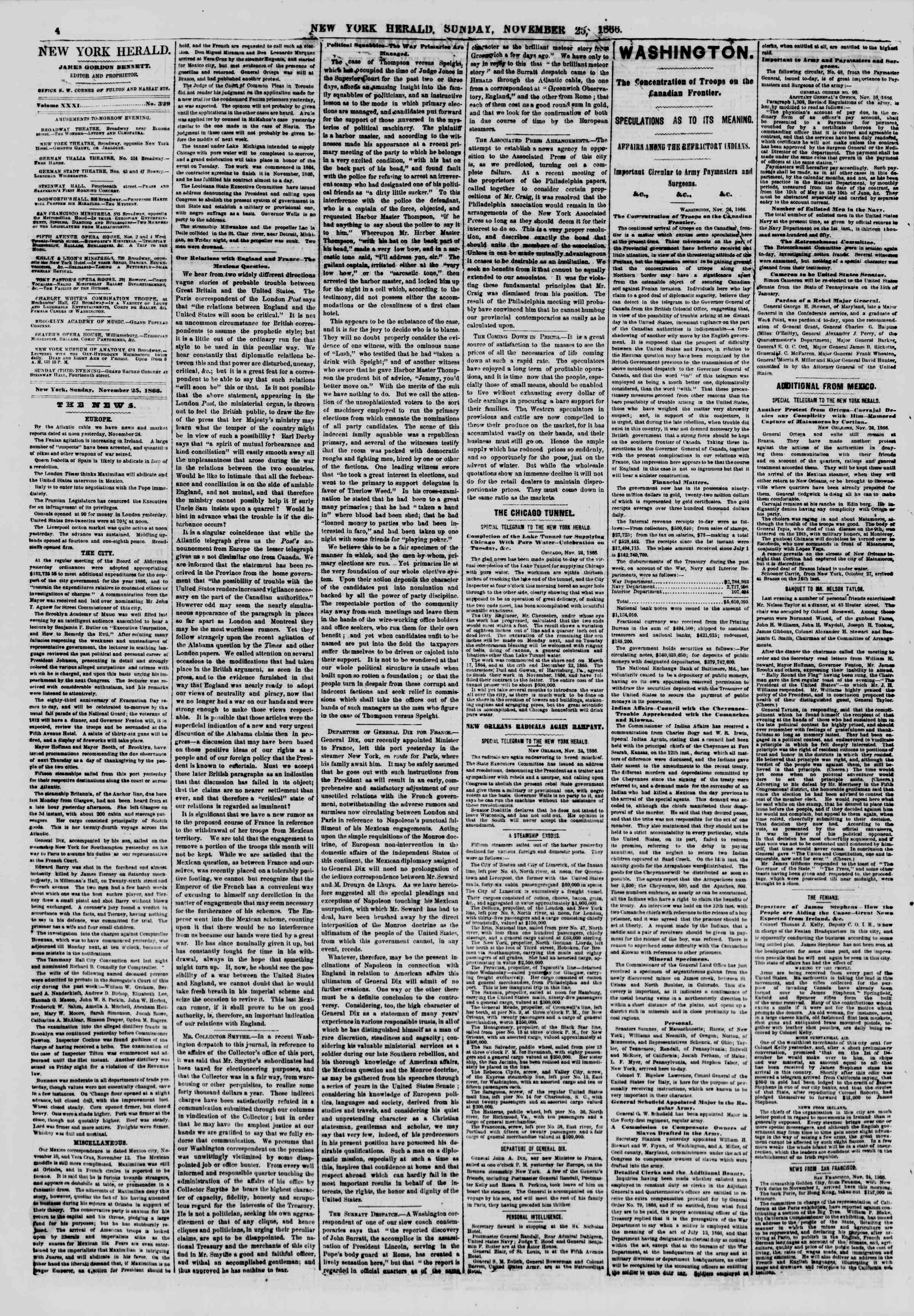 Newspaper of The New York Herald dated November 25, 1866 Page 4