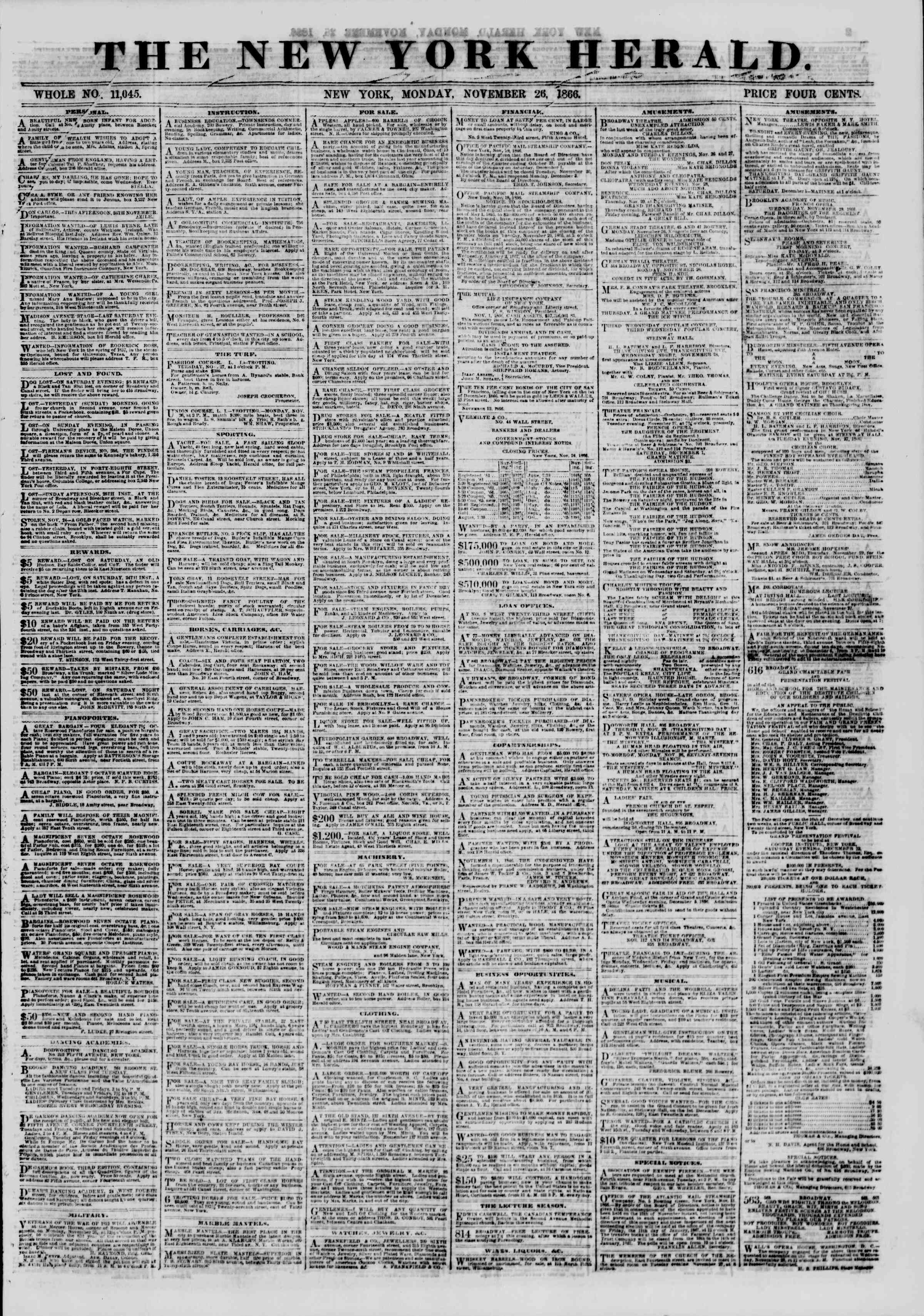 Newspaper of The New York Herald dated November 26, 1866 Page 1