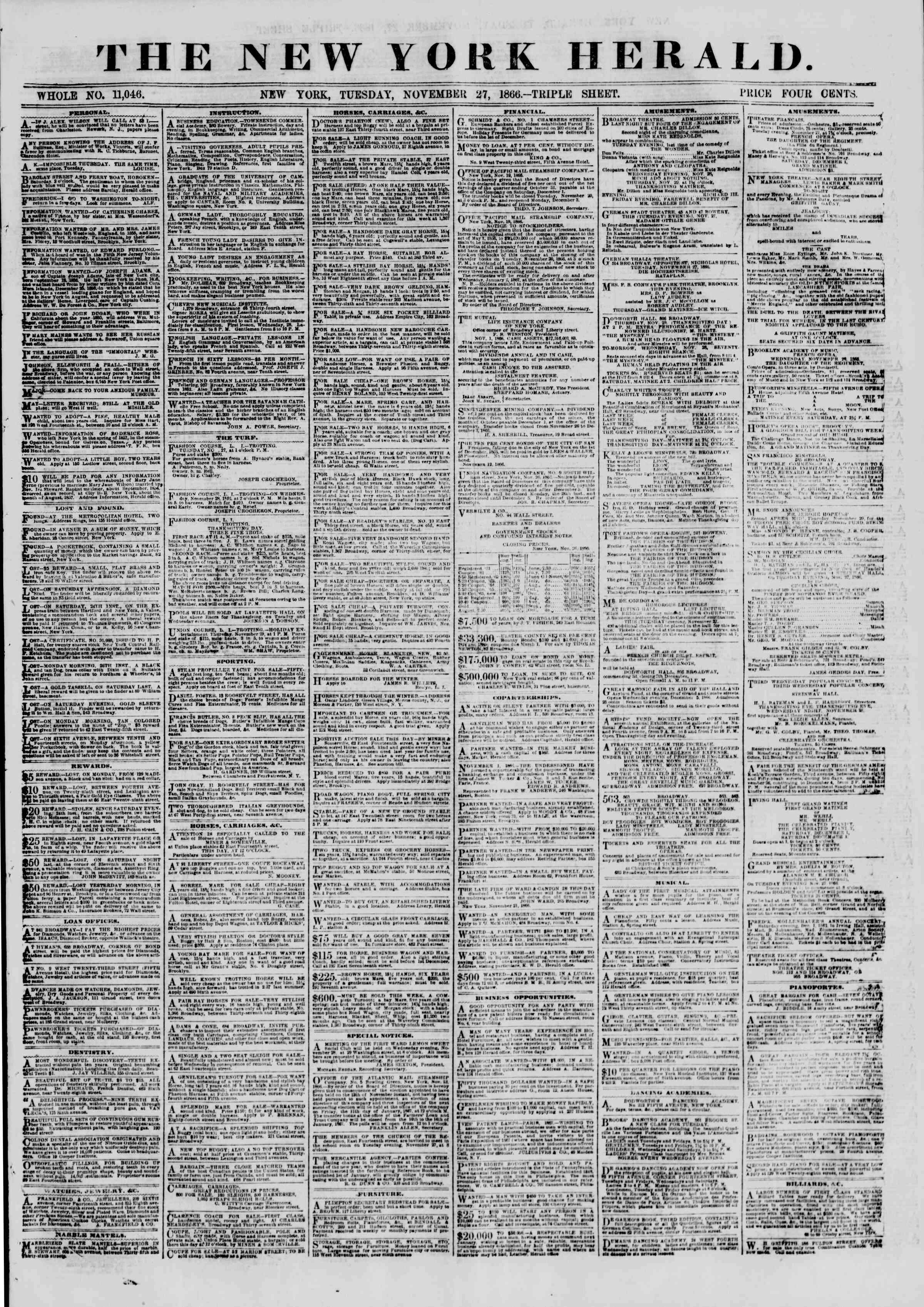 Newspaper of The New York Herald dated November 27, 1866 Page 1
