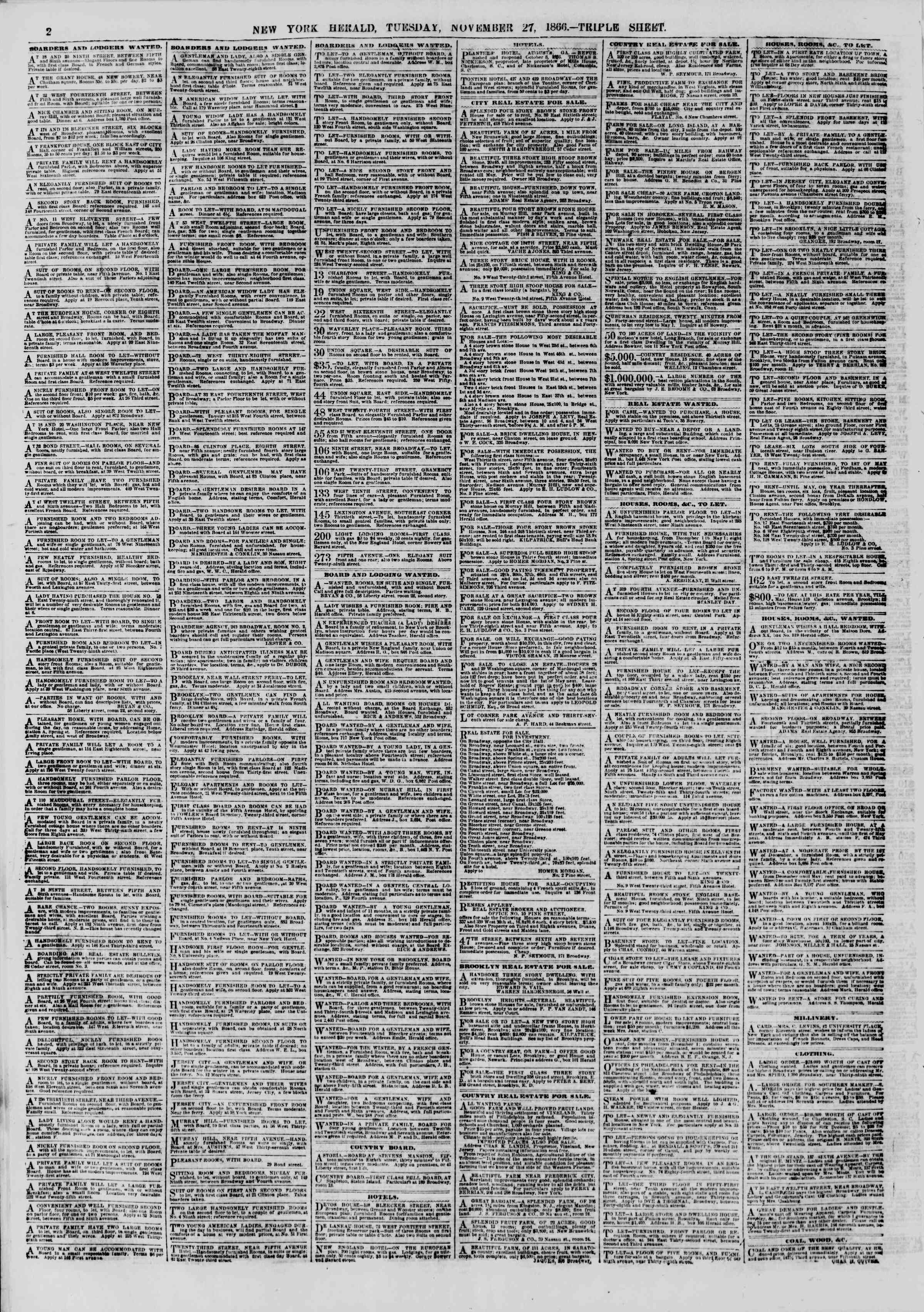 Newspaper of The New York Herald dated November 27, 1866 Page 2