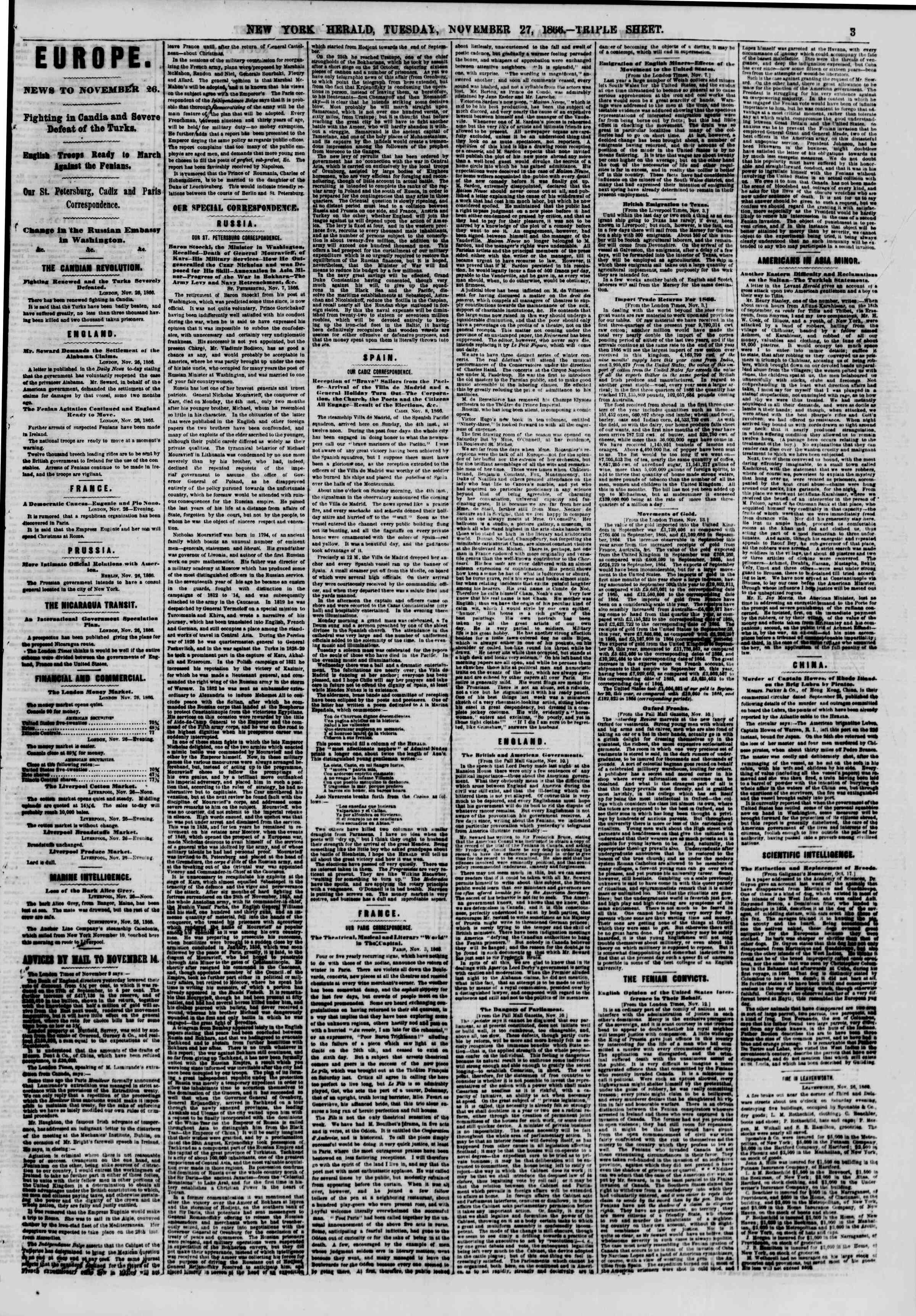 Newspaper of The New York Herald dated November 27, 1866 Page 3