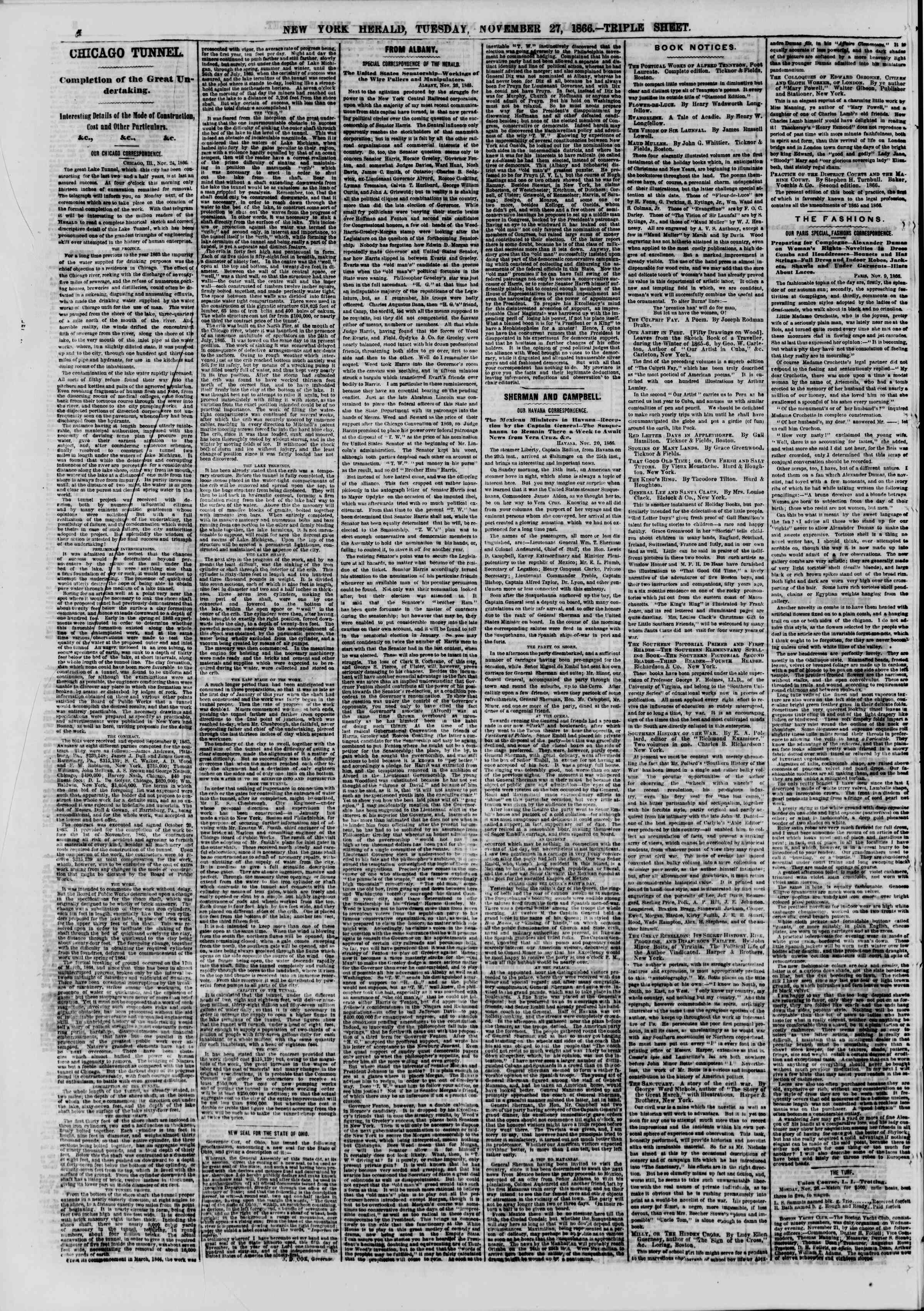 Newspaper of The New York Herald dated November 27, 1866 Page 4