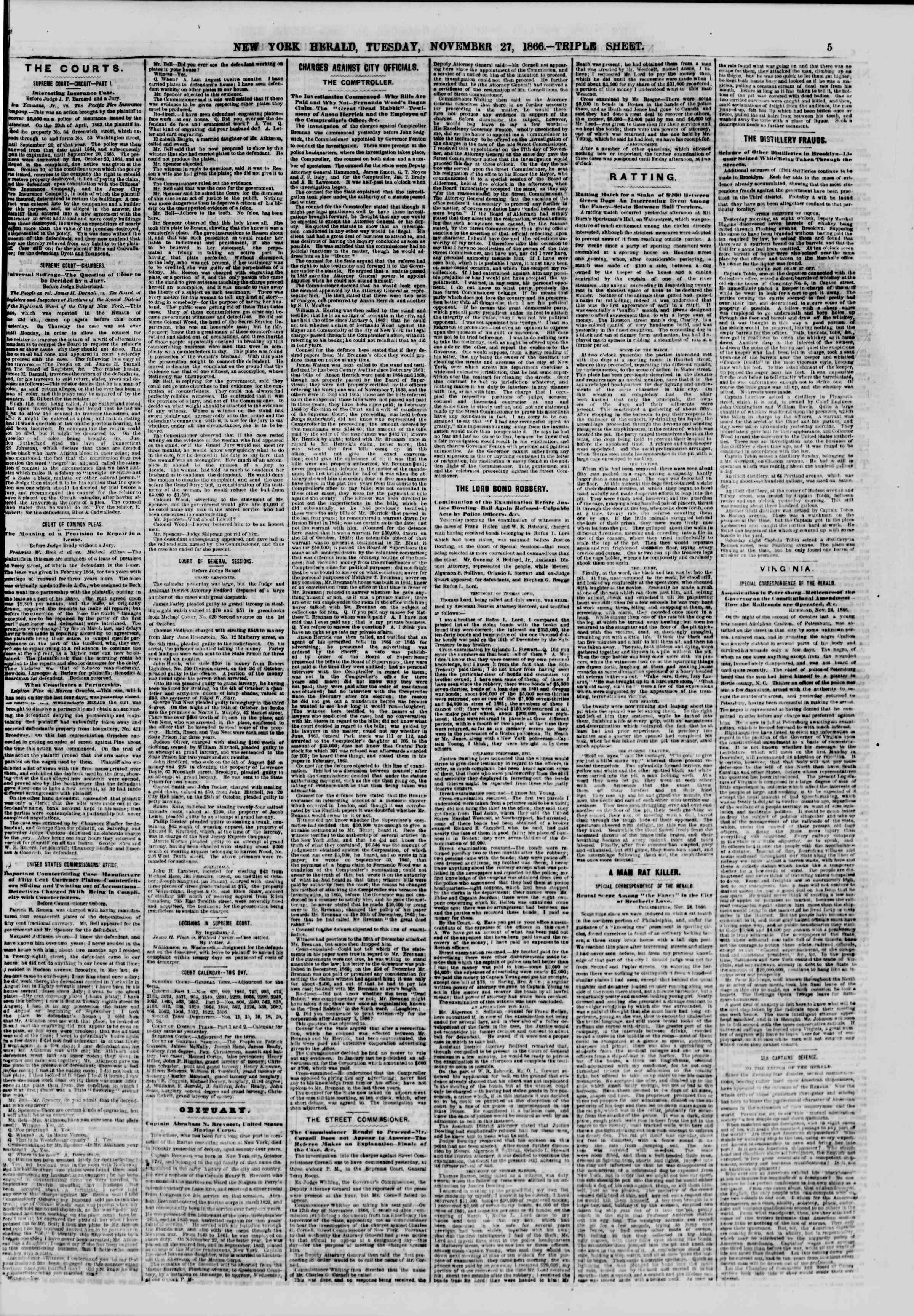 Newspaper of The New York Herald dated November 27, 1866 Page 5