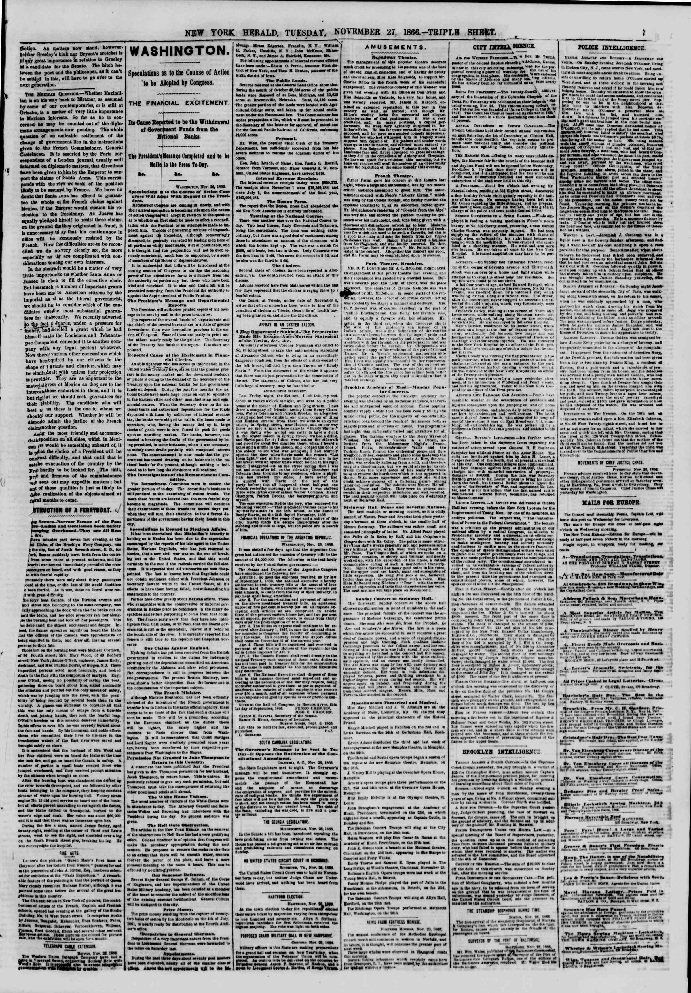 Newspaper of The New York Herald dated November 27, 1866 Page 7