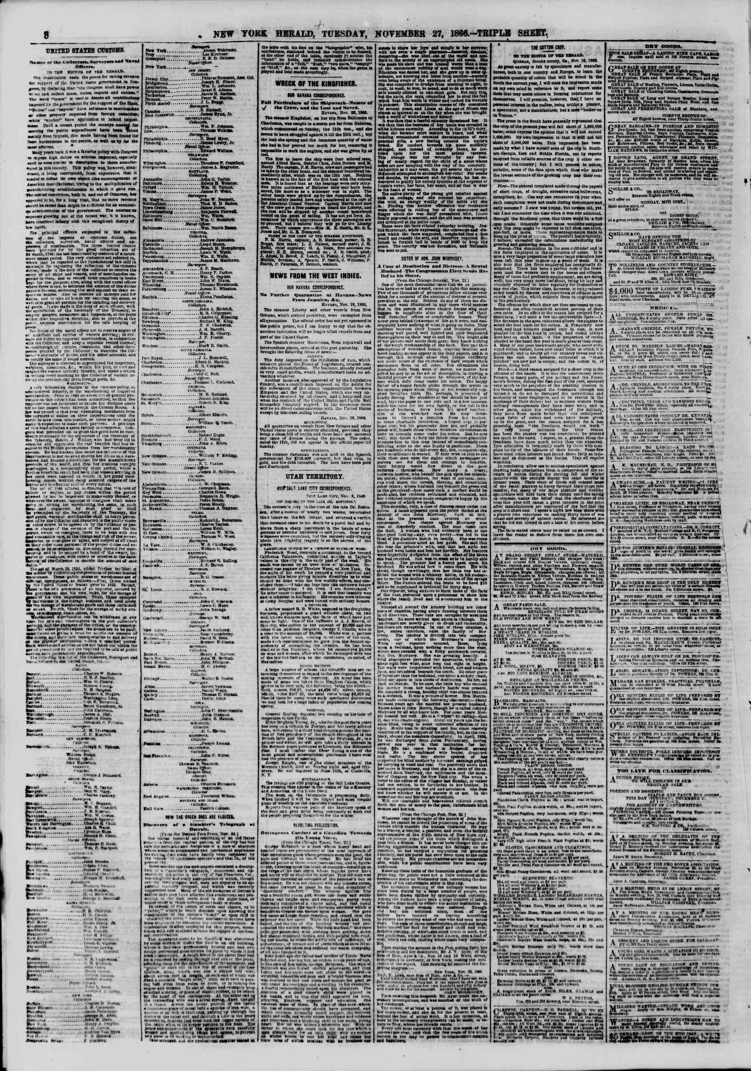 Newspaper of The New York Herald dated November 27, 1866 Page 8