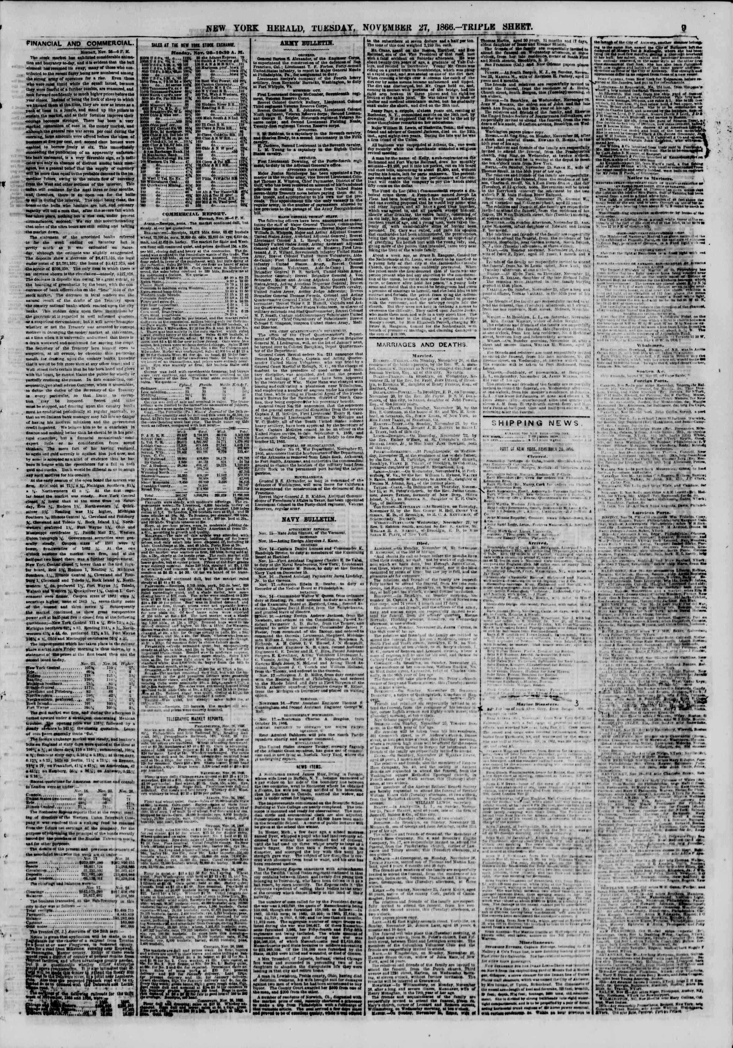 Newspaper of The New York Herald dated November 27, 1866 Page 9