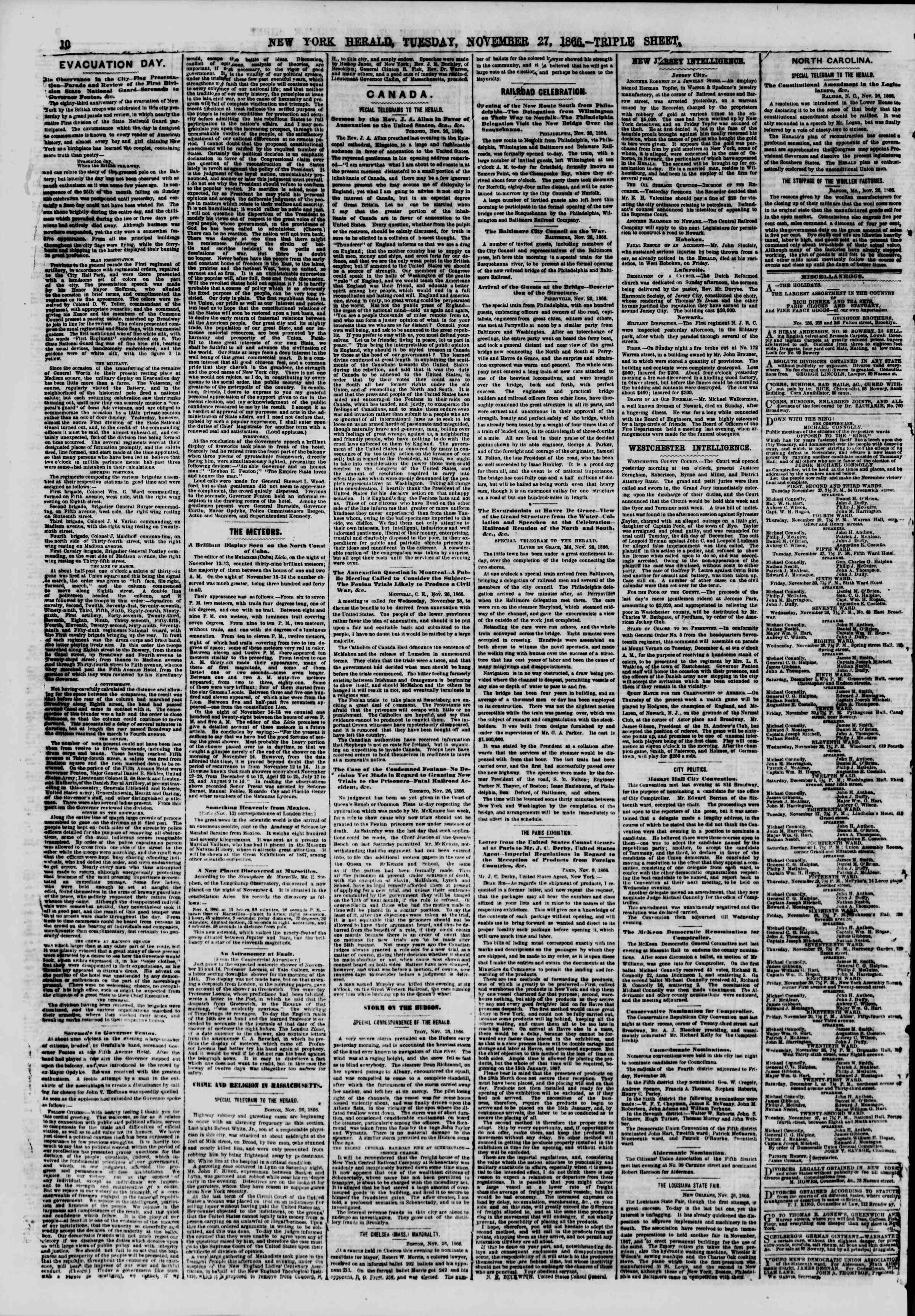 Newspaper of The New York Herald dated November 27, 1866 Page 10