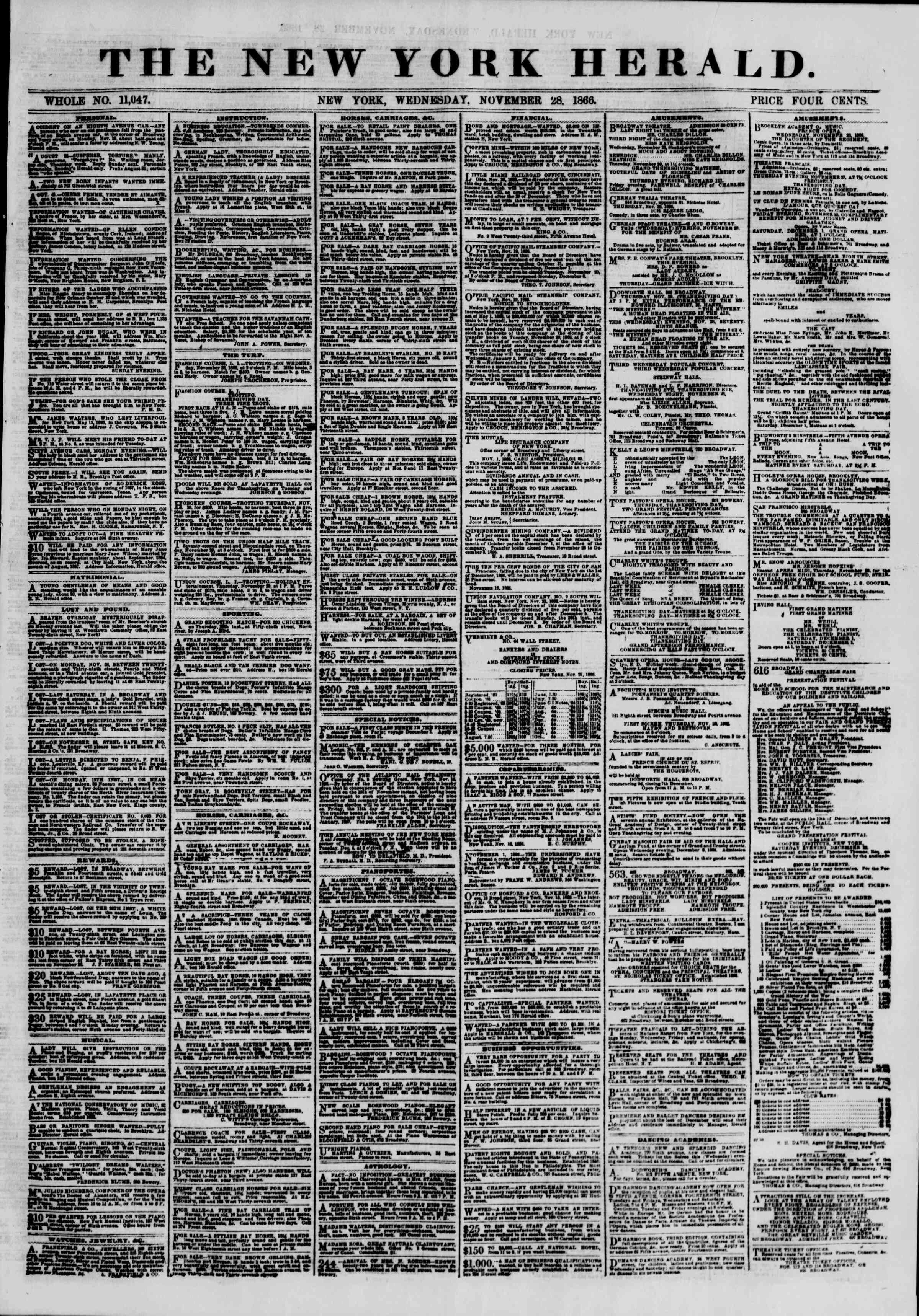 Newspaper of The New York Herald dated November 28, 1866 Page 1