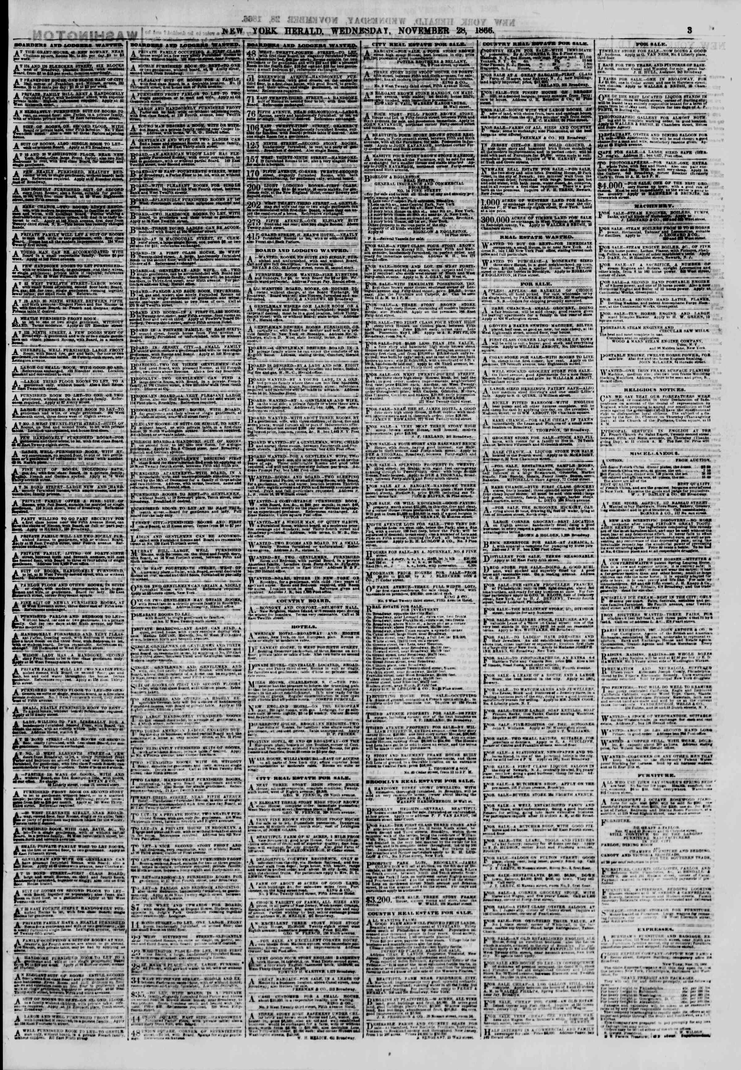 Newspaper of The New York Herald dated November 28, 1866 Page 3