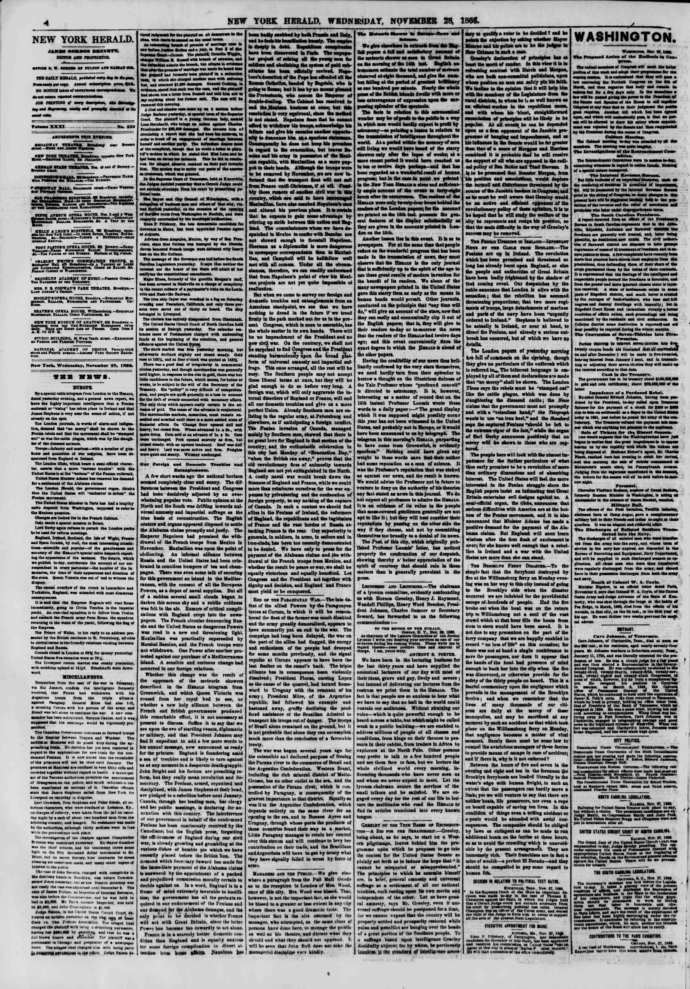 Newspaper of The New York Herald dated November 28, 1866 Page 4