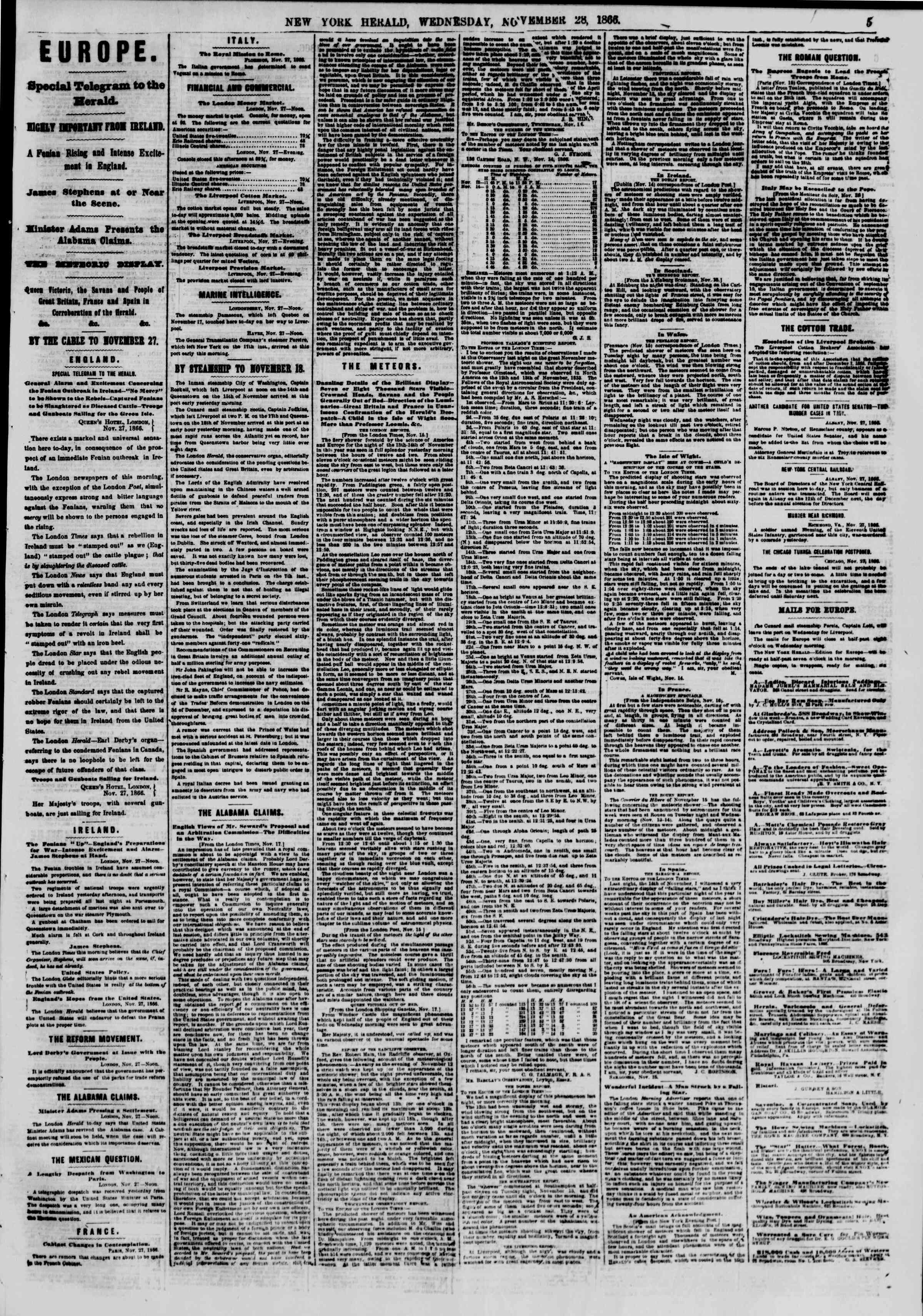 Newspaper of The New York Herald dated November 28, 1866 Page 5