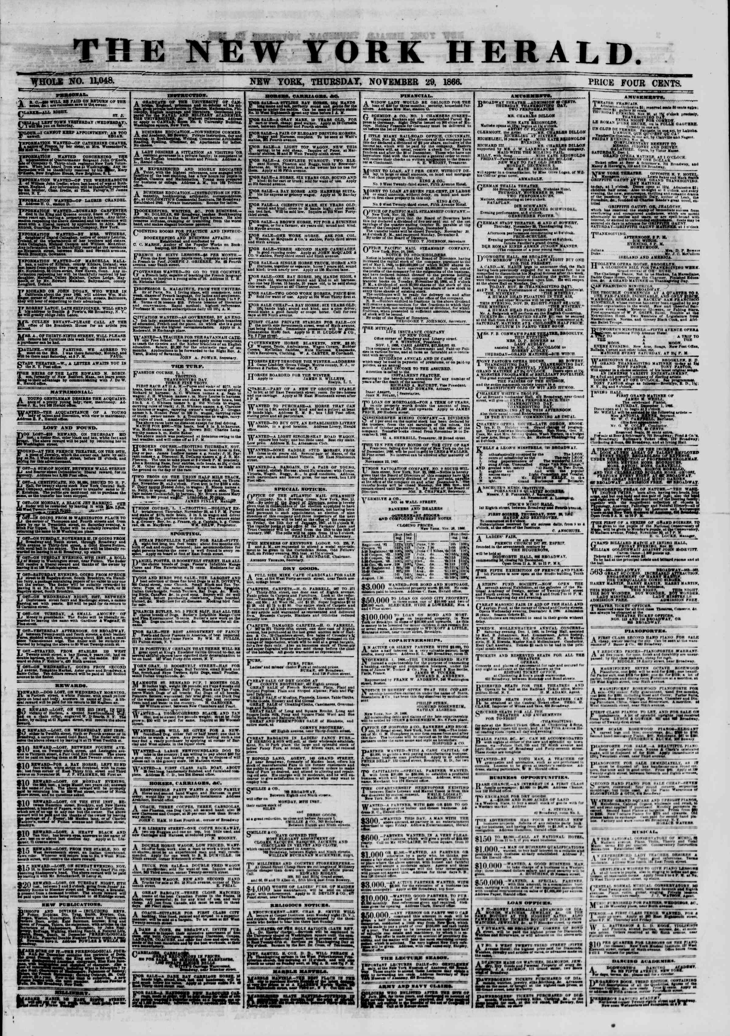 Newspaper of The New York Herald dated November 29, 1866 Page 1