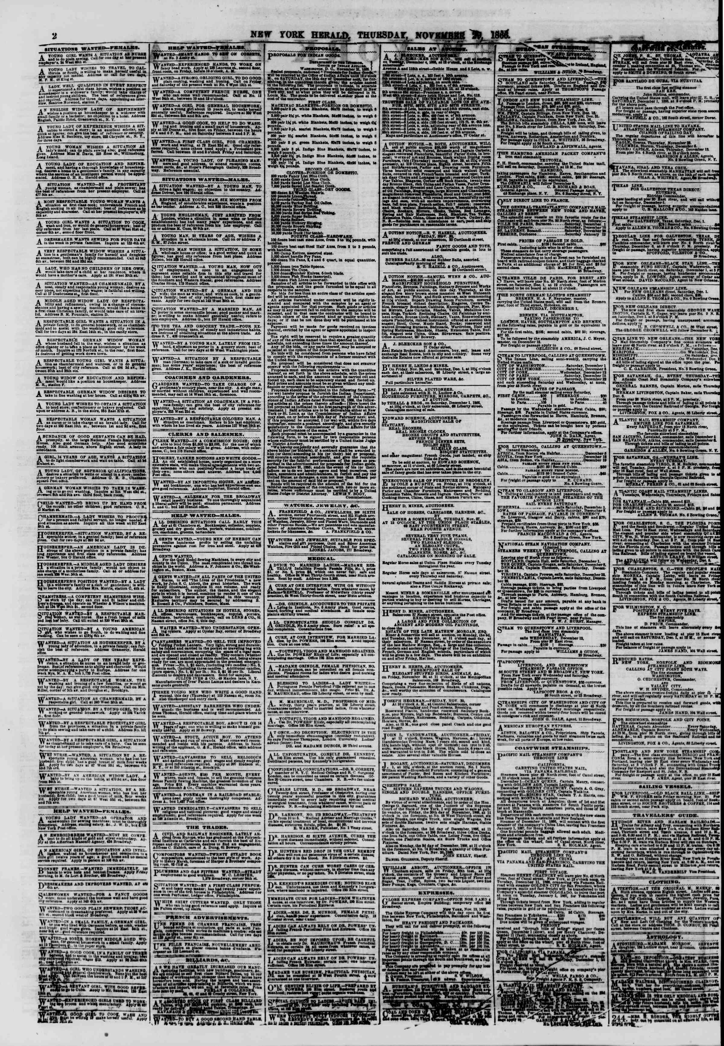 Newspaper of The New York Herald dated November 29, 1866 Page 2
