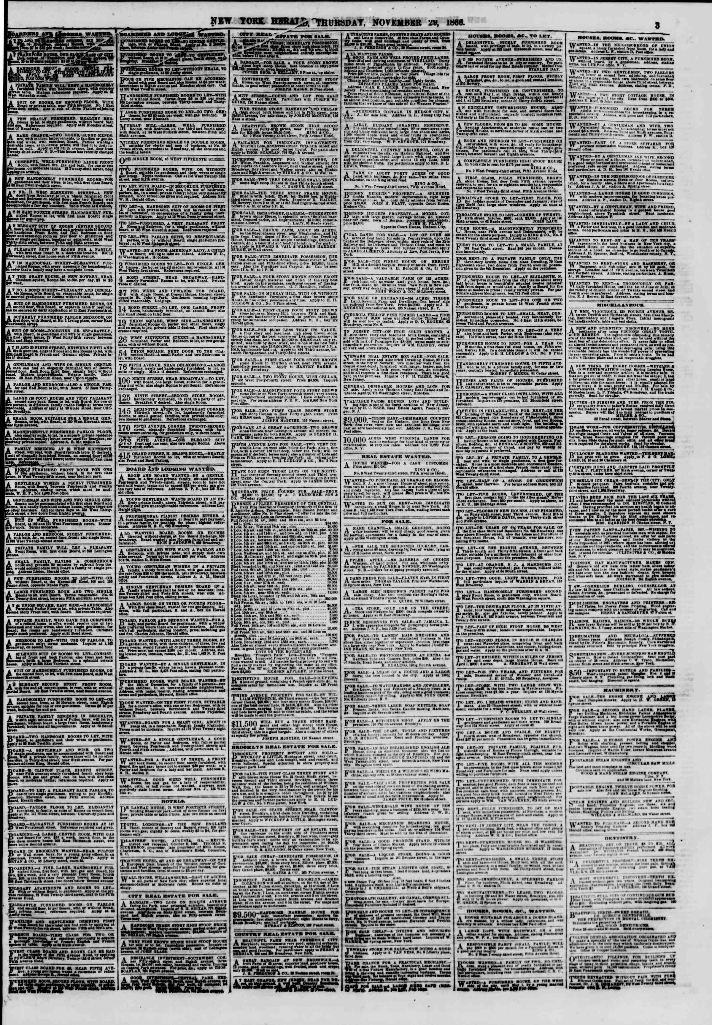 Newspaper of The New York Herald dated November 29, 1866 Page 3