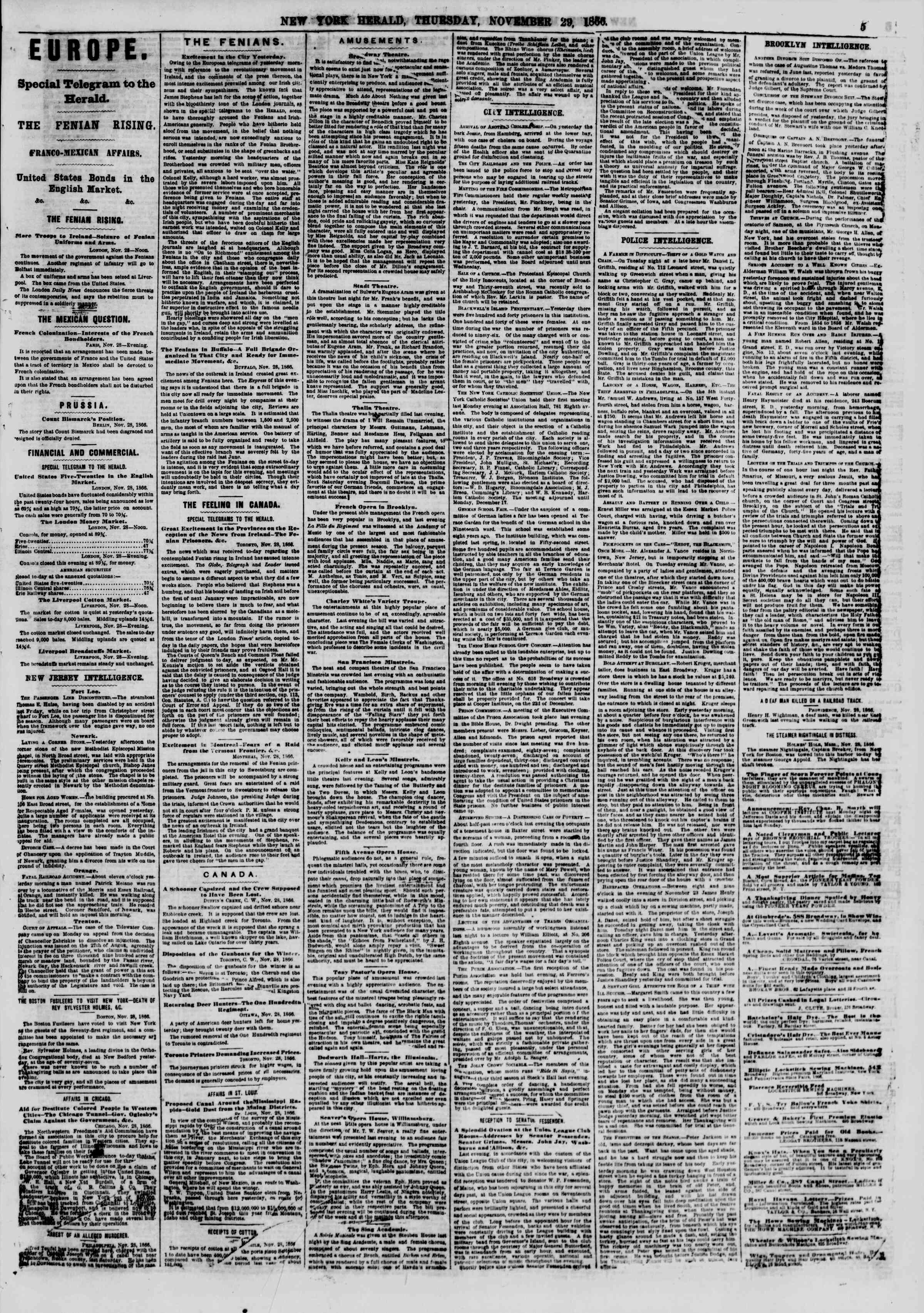 Newspaper of The New York Herald dated November 29, 1866 Page 5
