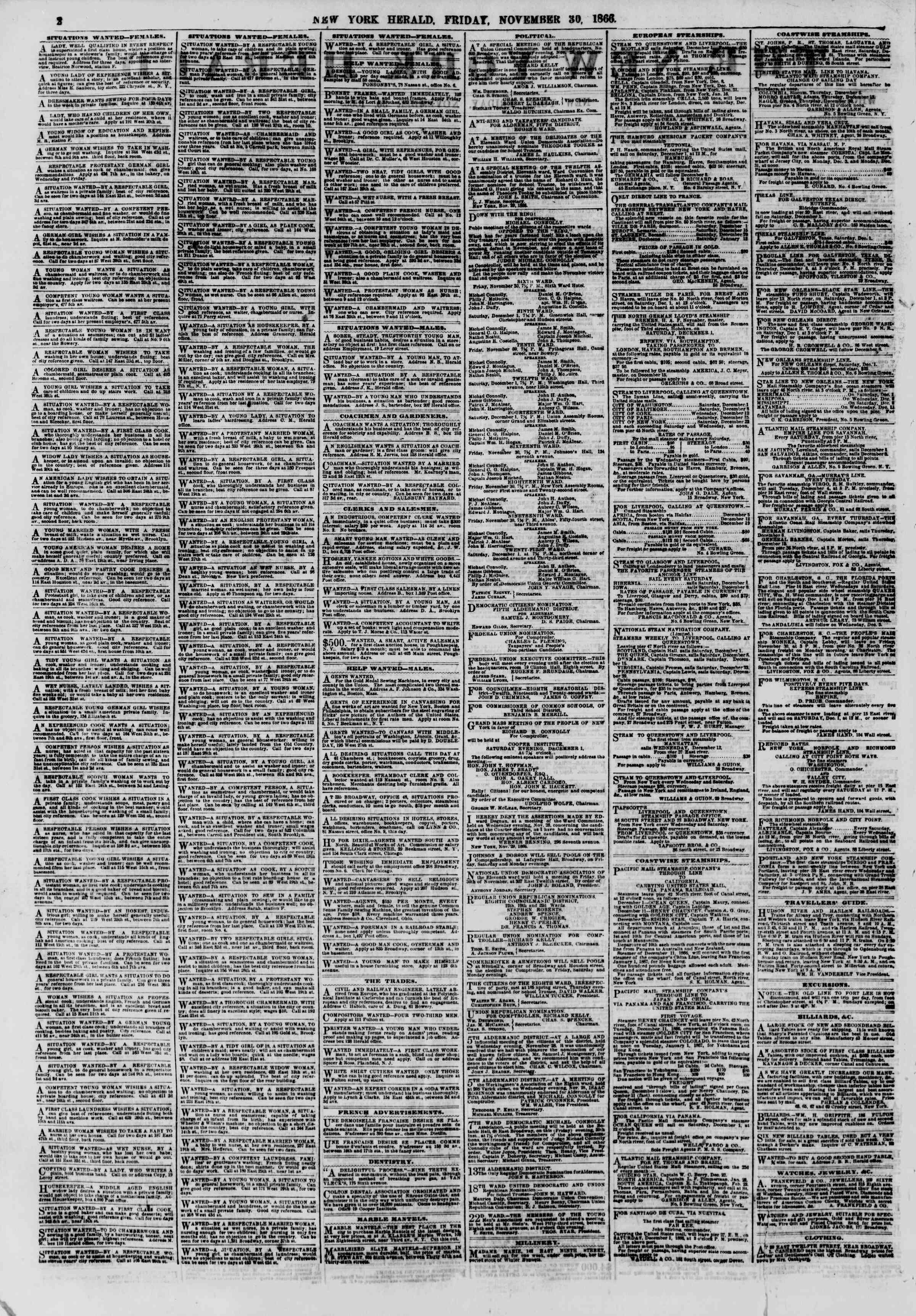 Newspaper of The New York Herald dated November 30, 1866 Page 2