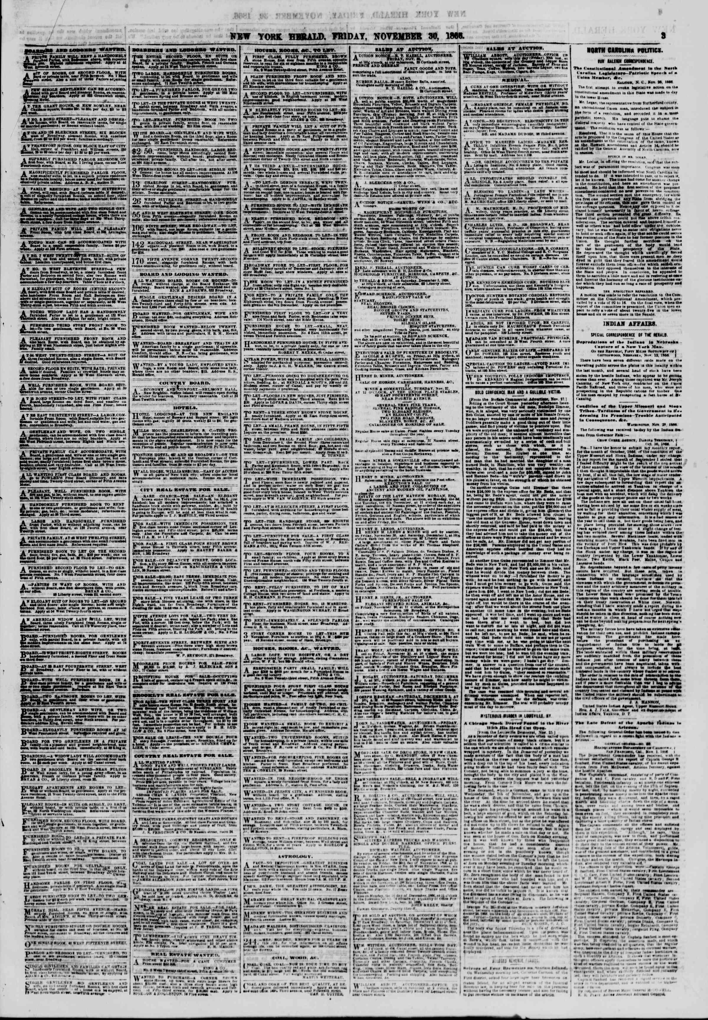 Newspaper of The New York Herald dated November 30, 1866 Page 3
