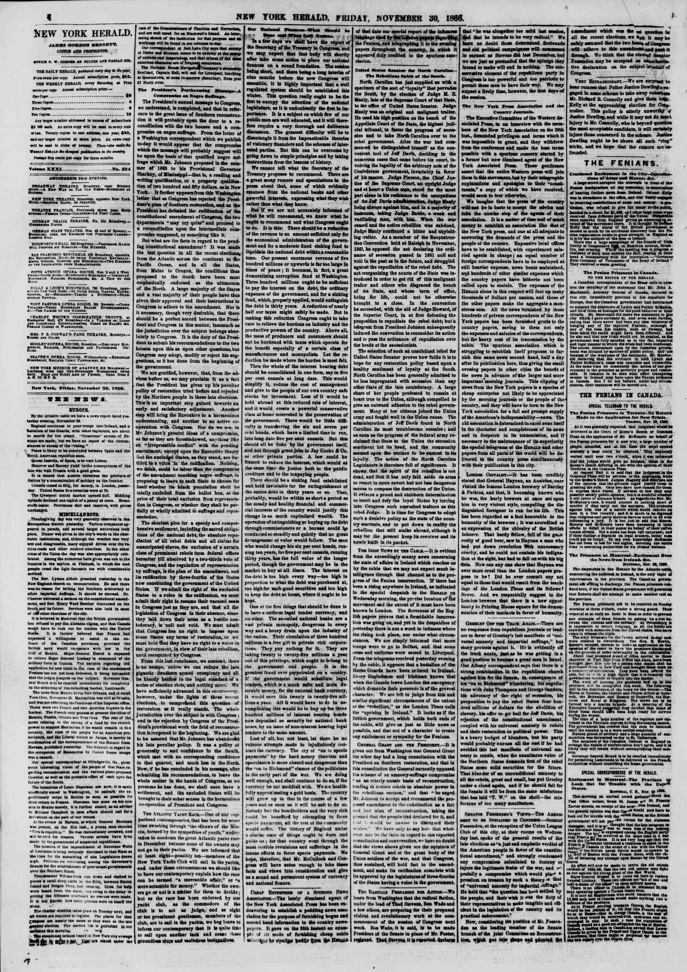 Newspaper of The New York Herald dated November 30, 1866 Page 4