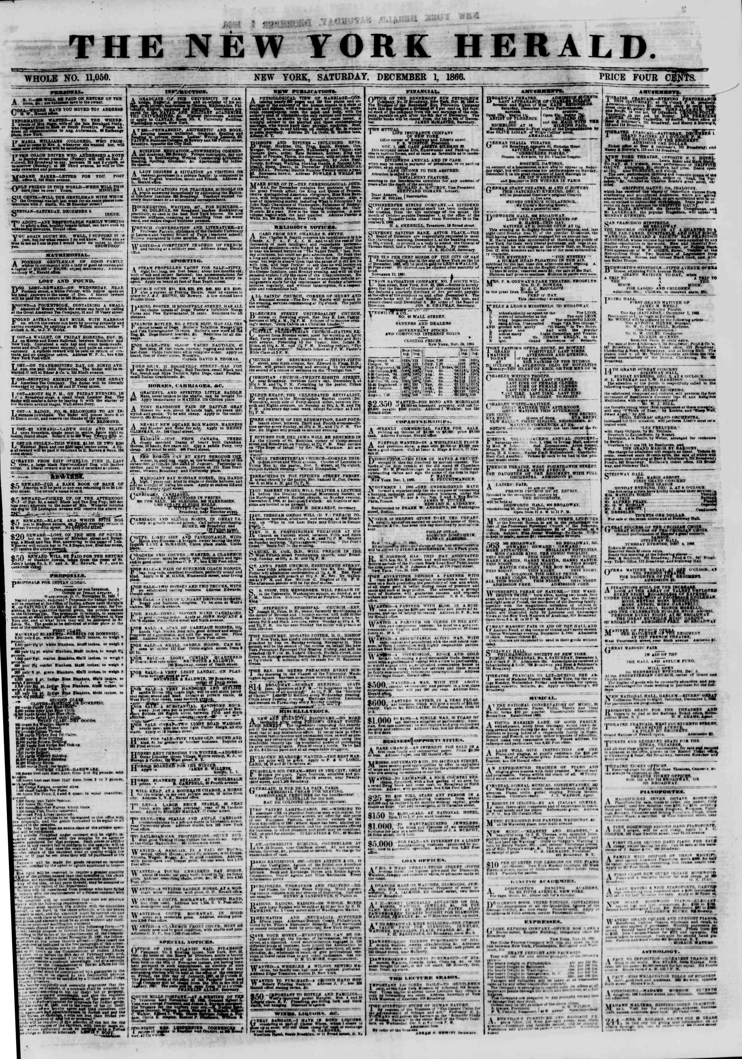 Newspaper of The New York Herald dated 1 Aralık 1866 Page 1