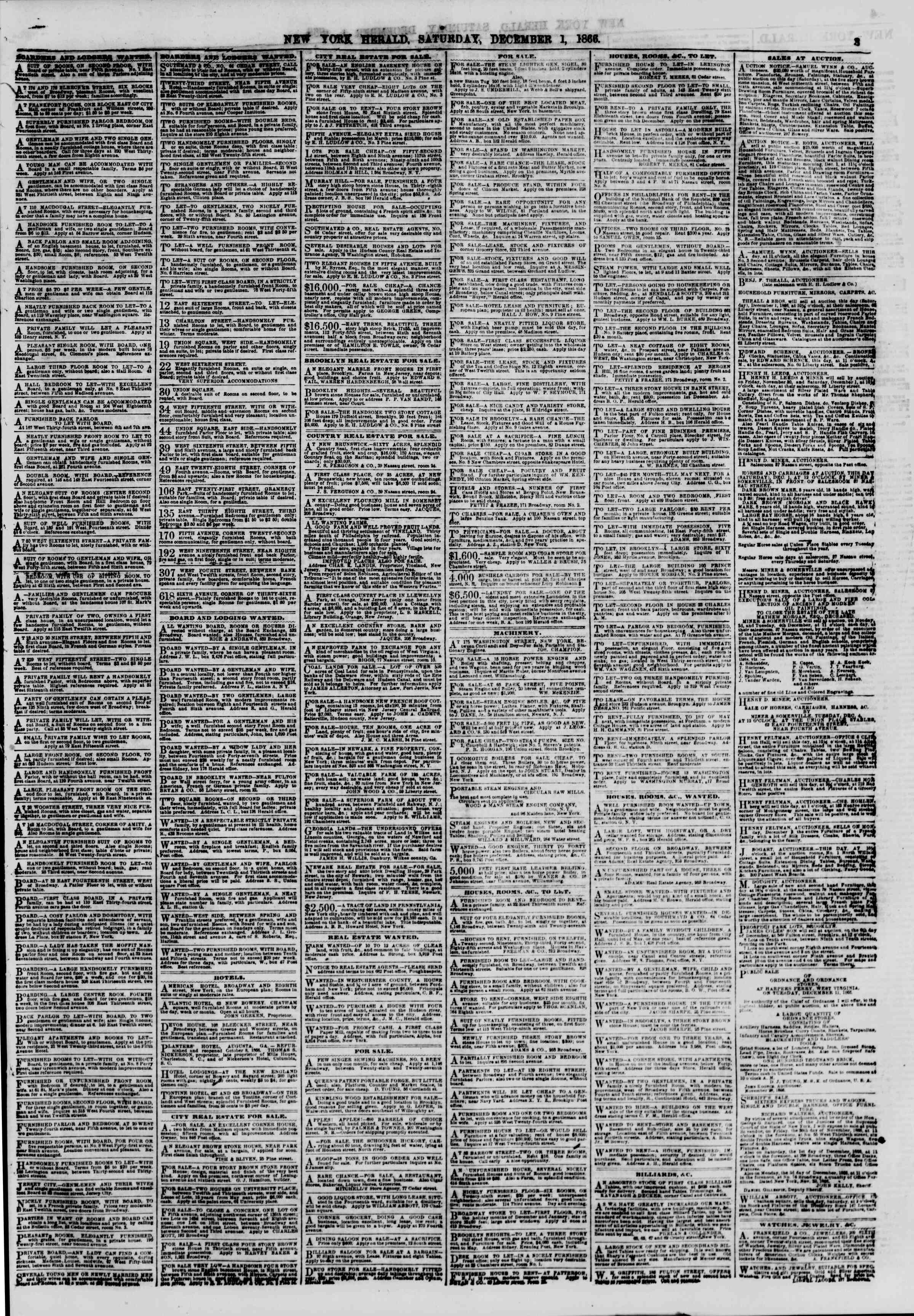 Newspaper of The New York Herald dated December 1, 1866 Page 3
