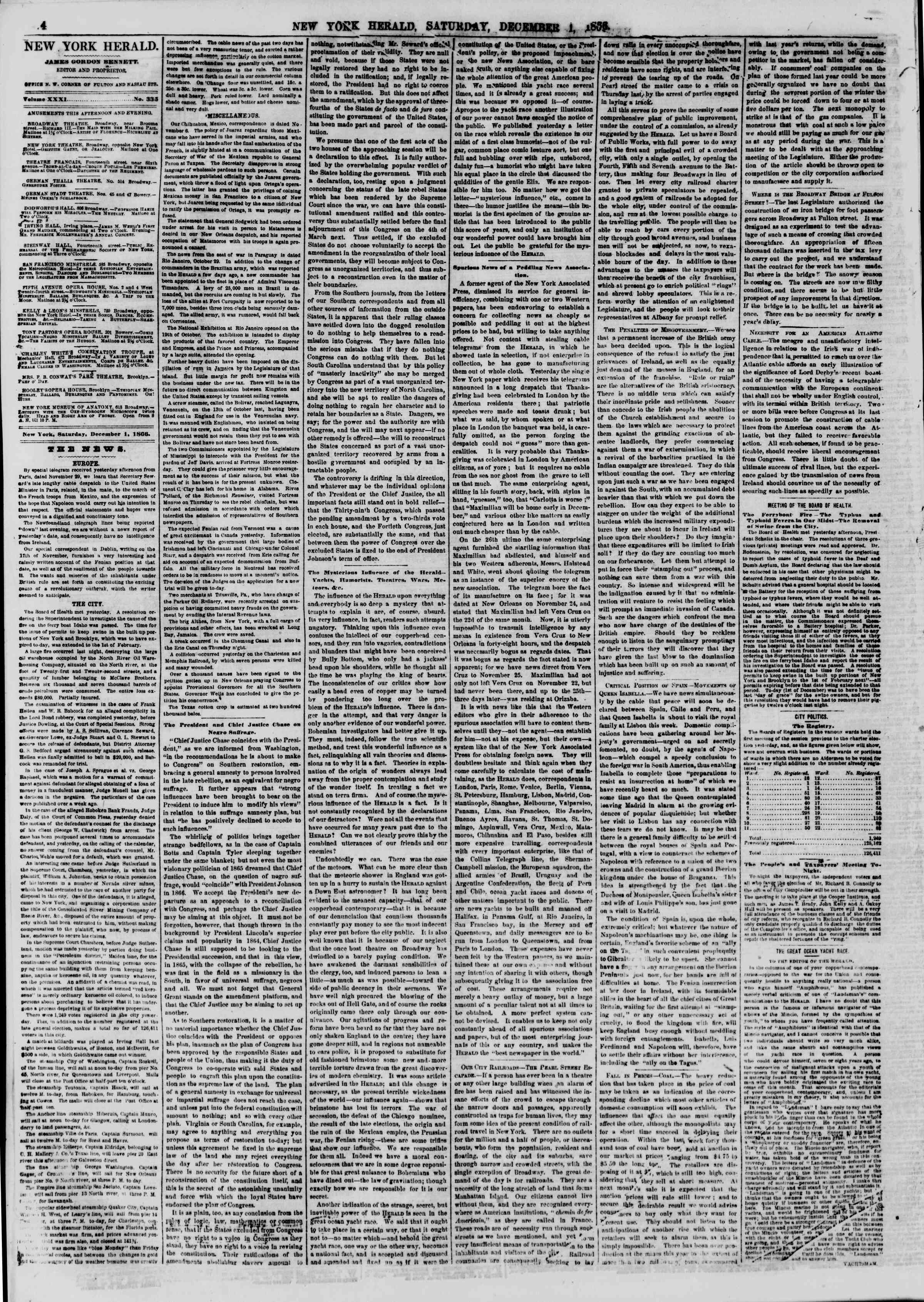 Newspaper of The New York Herald dated December 1, 1866 Page 4