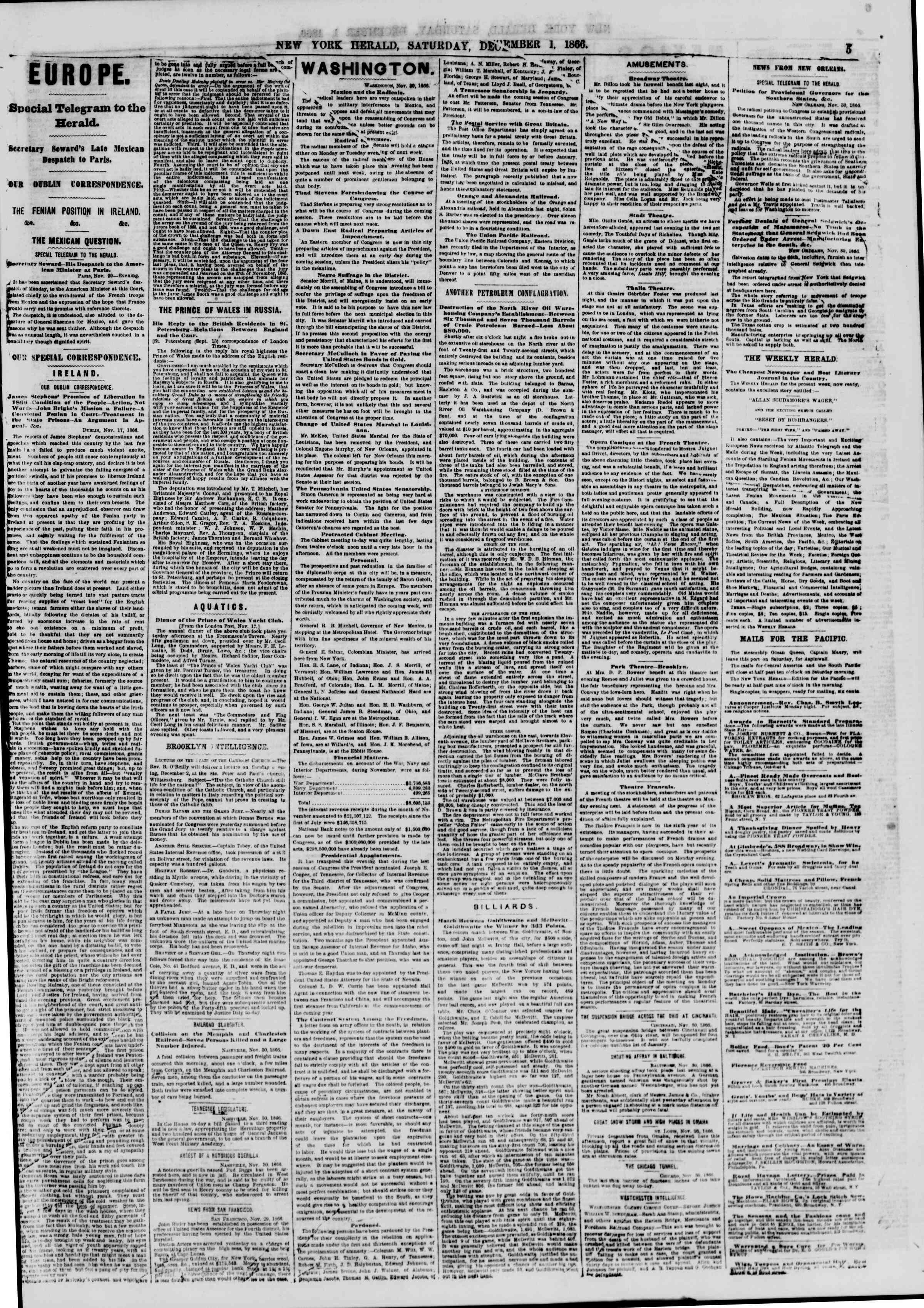 Newspaper of The New York Herald dated December 1, 1866 Page 5