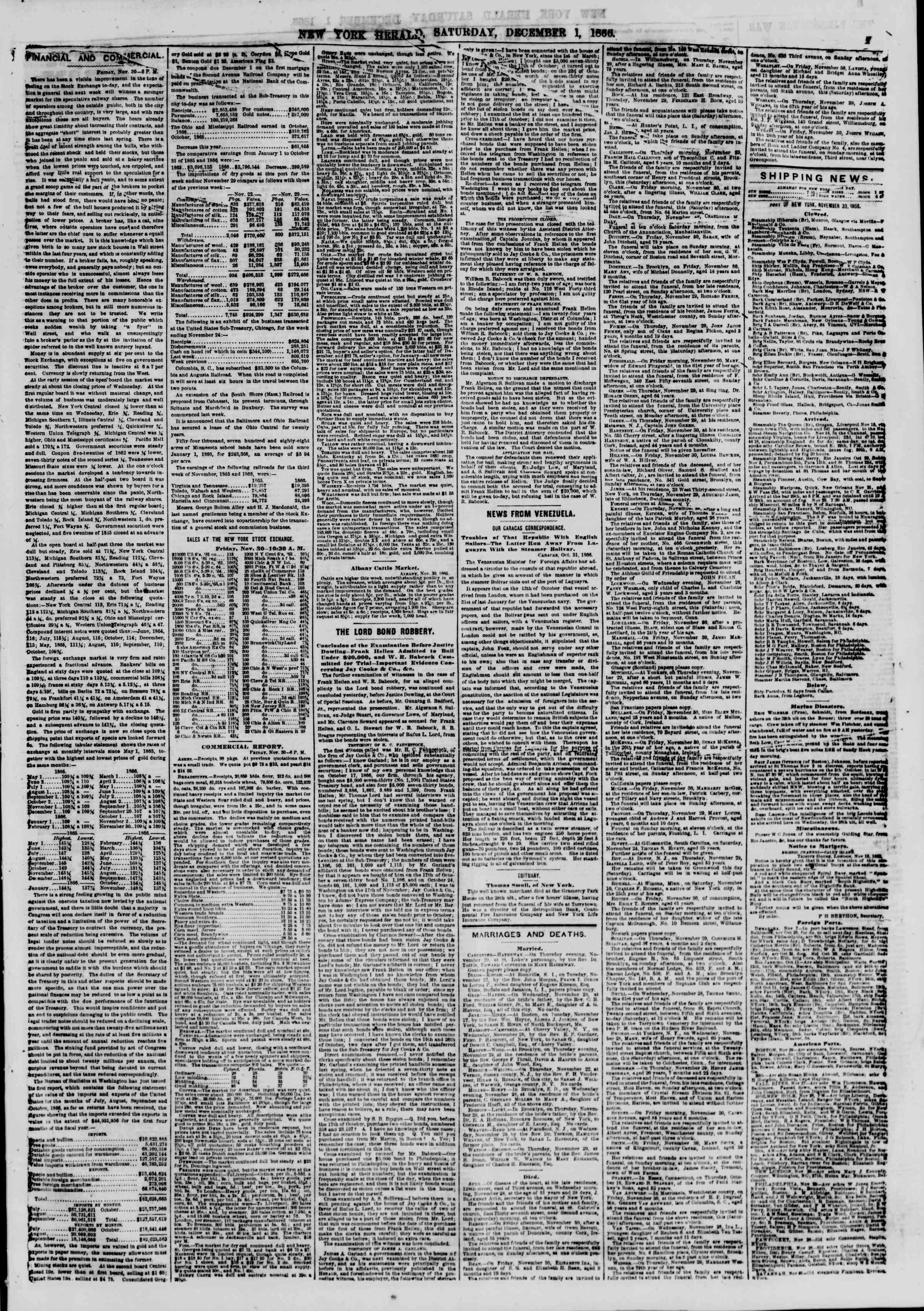 Newspaper of The New York Herald dated 1 Aralık 1866 Page 7