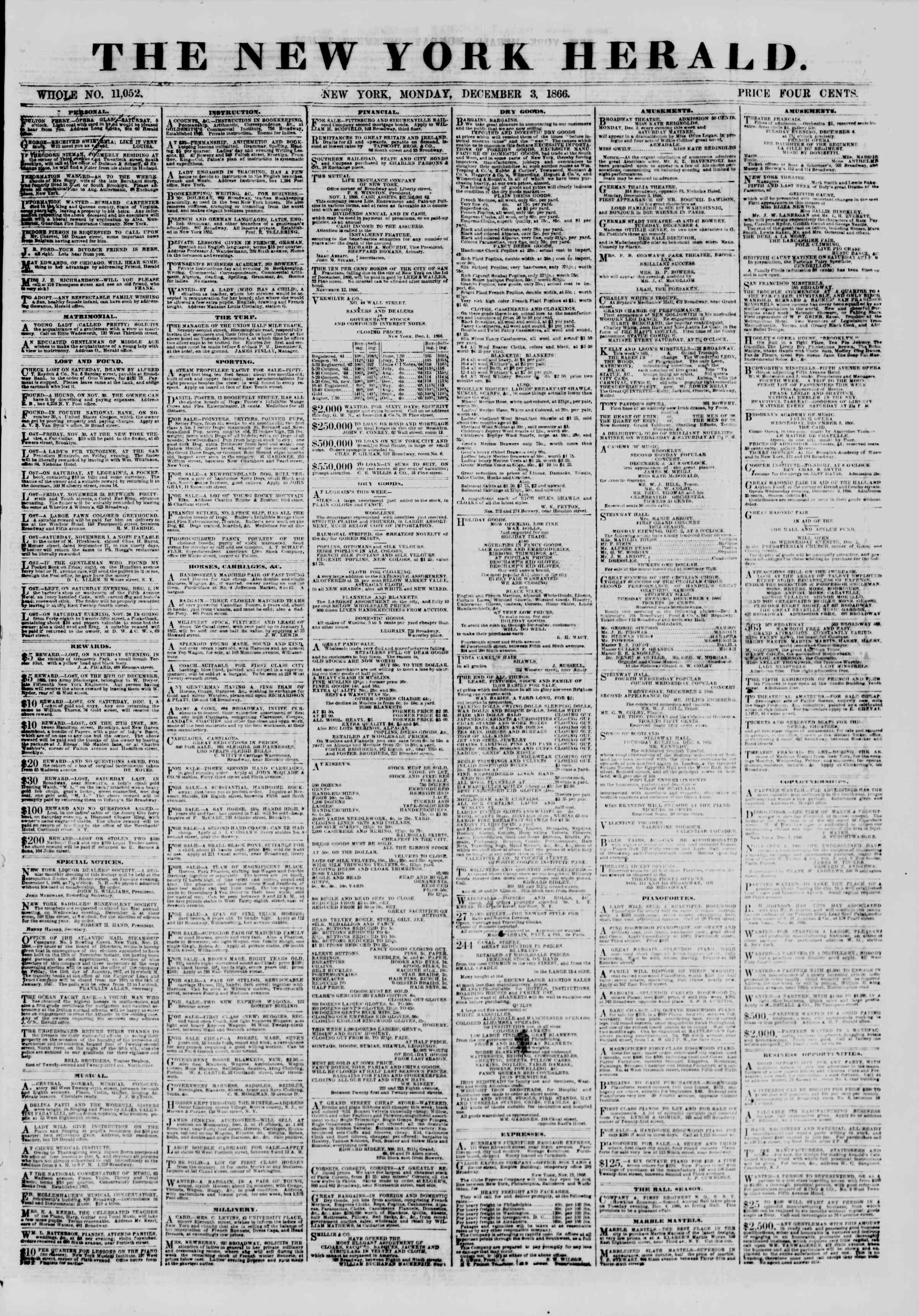 Newspaper of The New York Herald dated December 3, 1866 Page 1