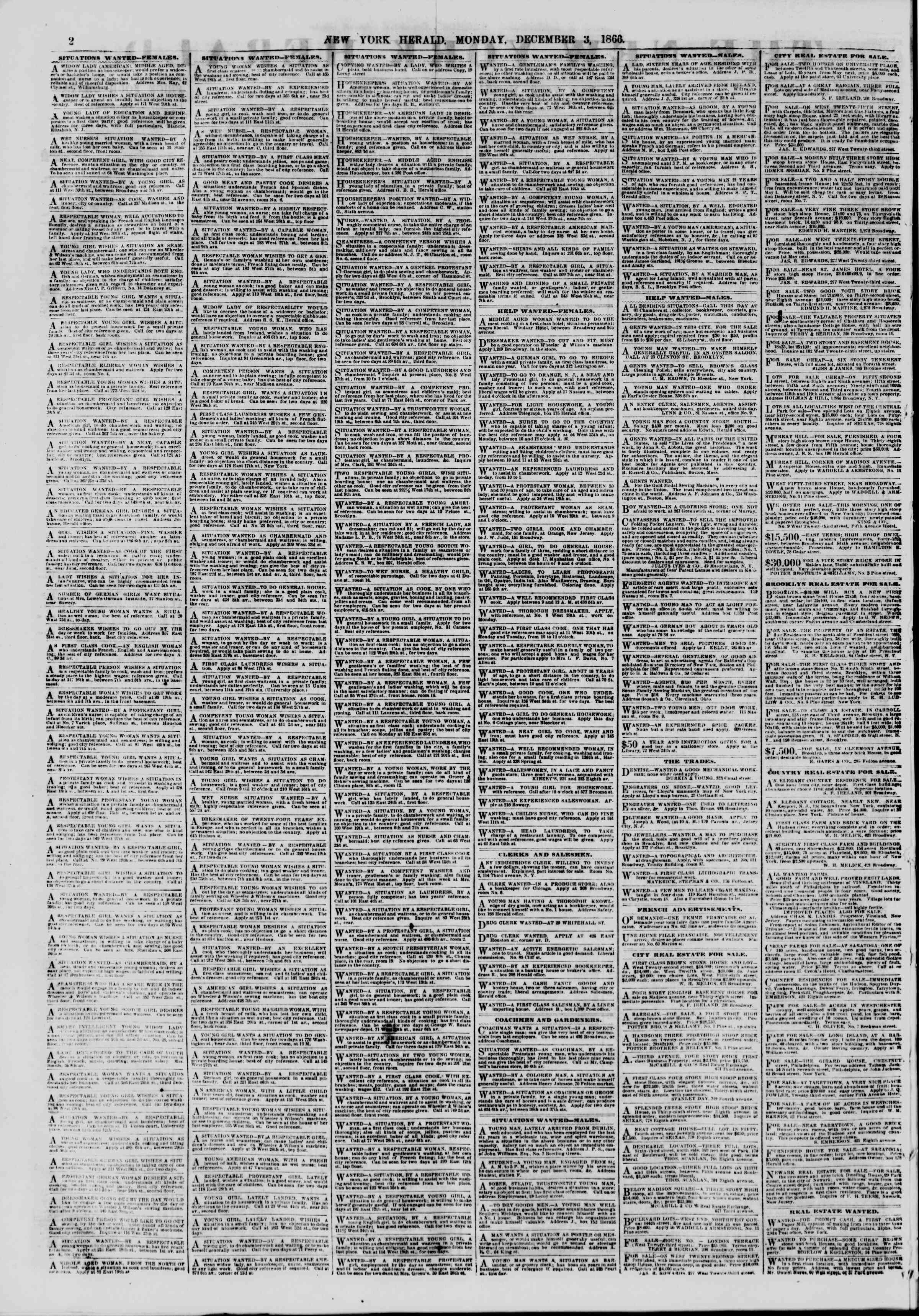 Newspaper of The New York Herald dated December 3, 1866 Page 2
