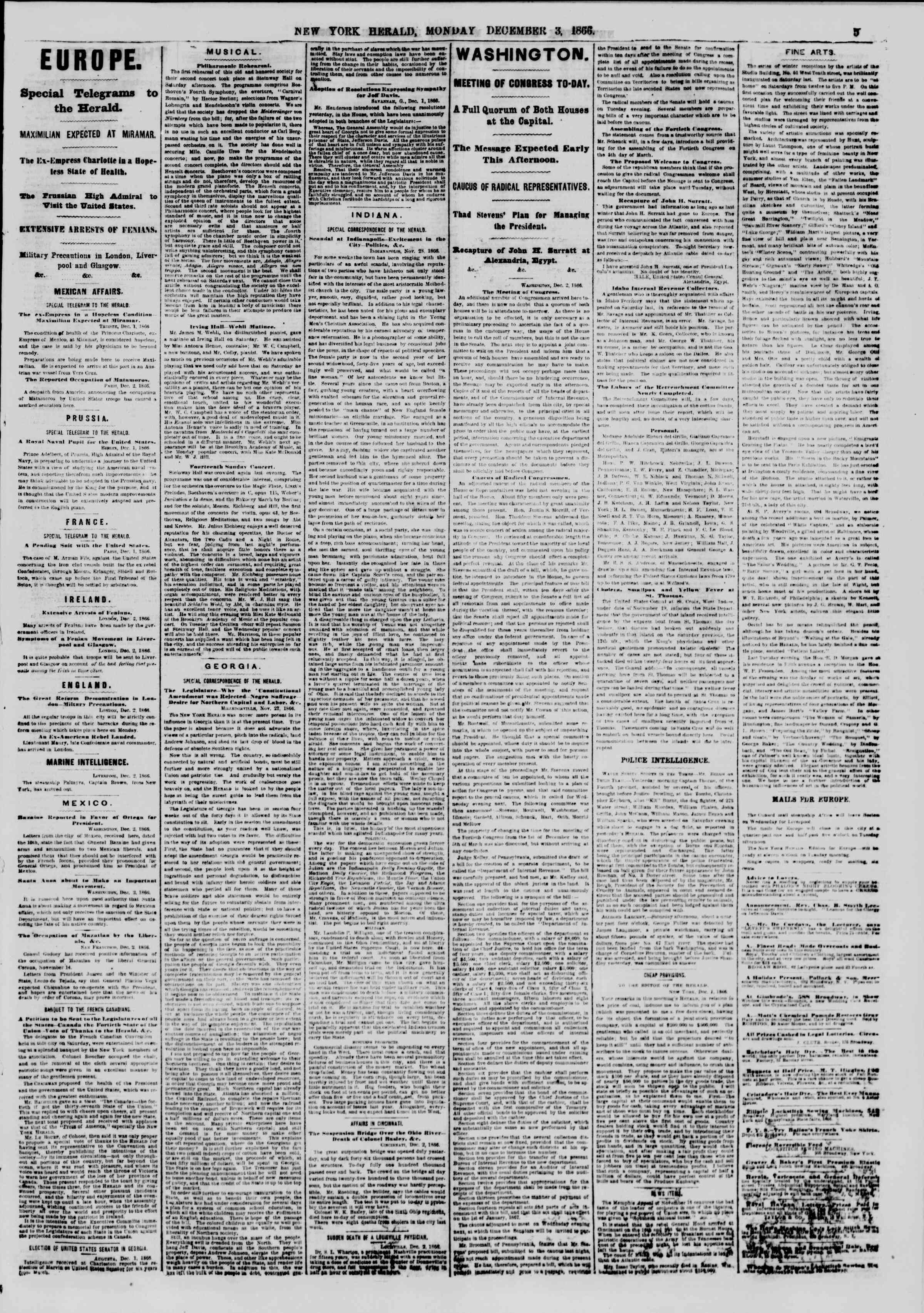 Newspaper of The New York Herald dated December 3, 1866 Page 5