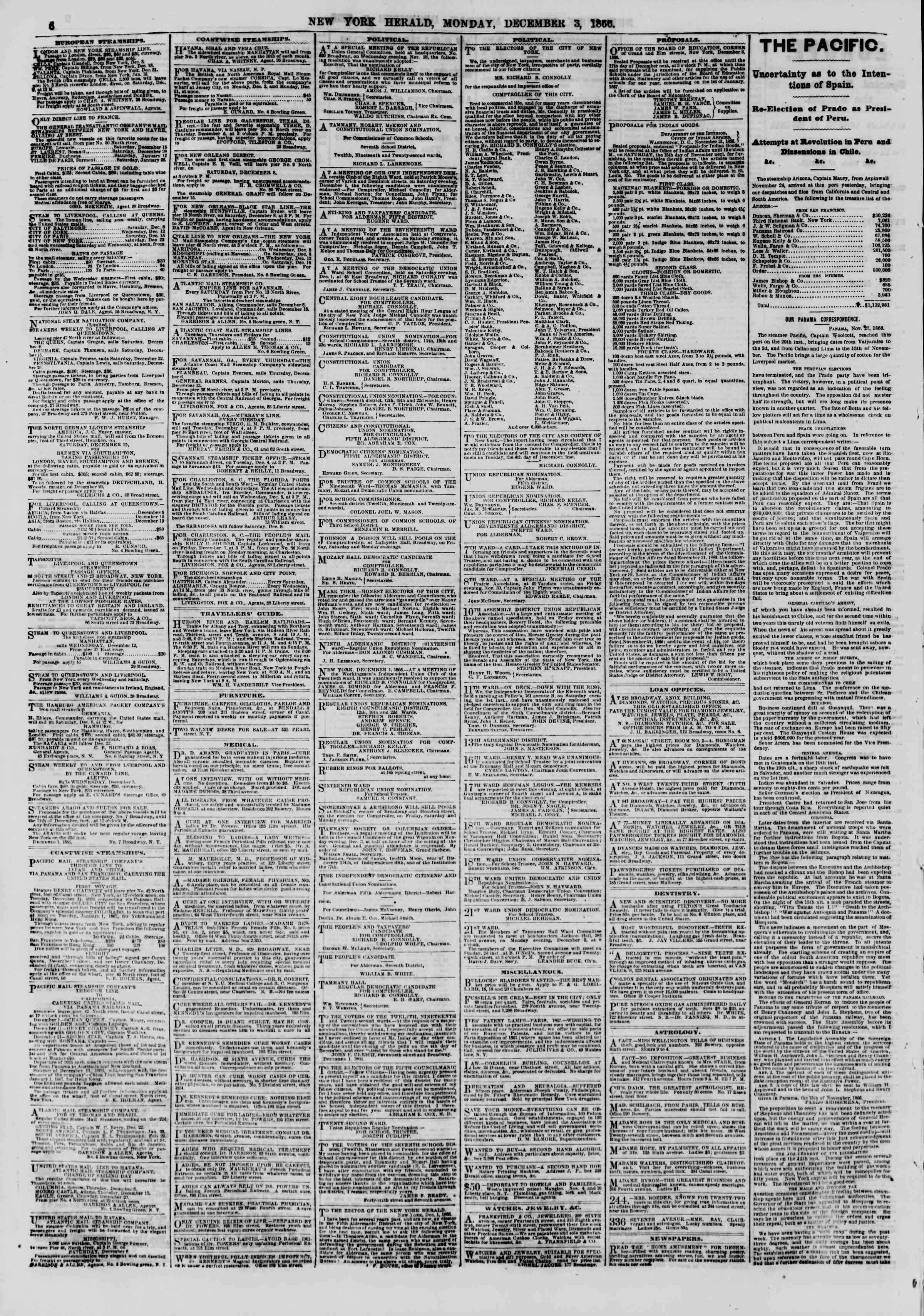 Newspaper of The New York Herald dated December 3, 1866 Page 6