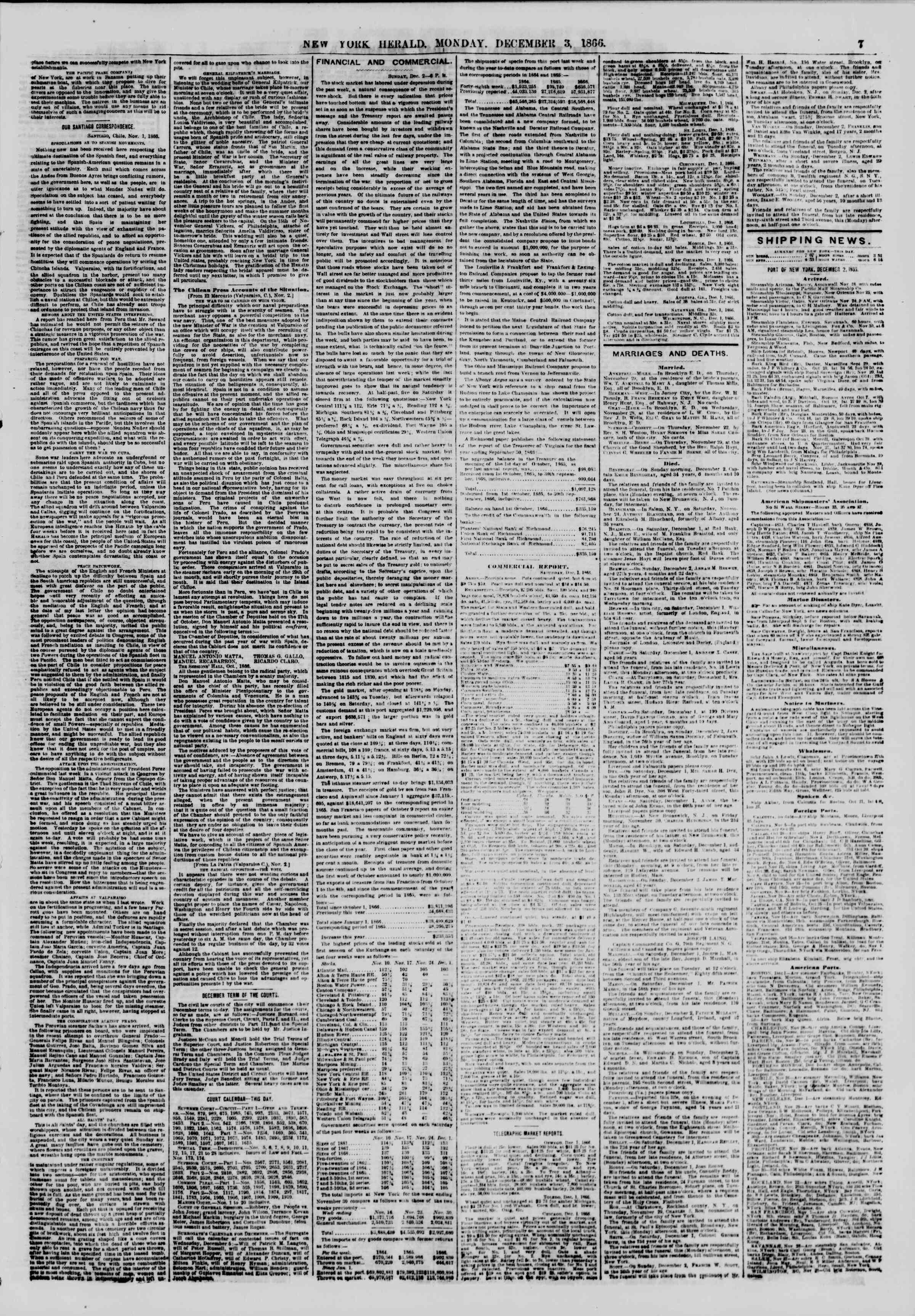 Newspaper of The New York Herald dated December 3, 1866 Page 7