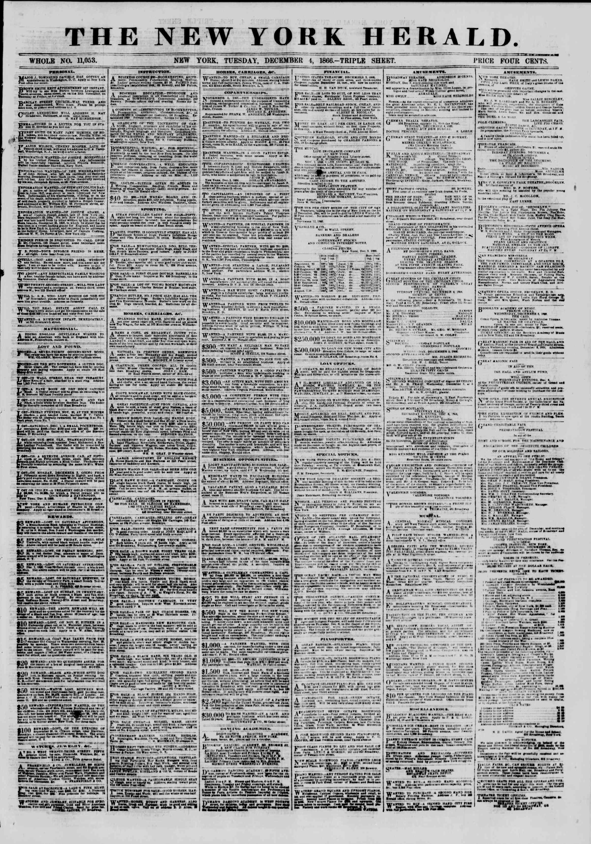 Newspaper of The New York Herald dated December 4, 1866 Page 1