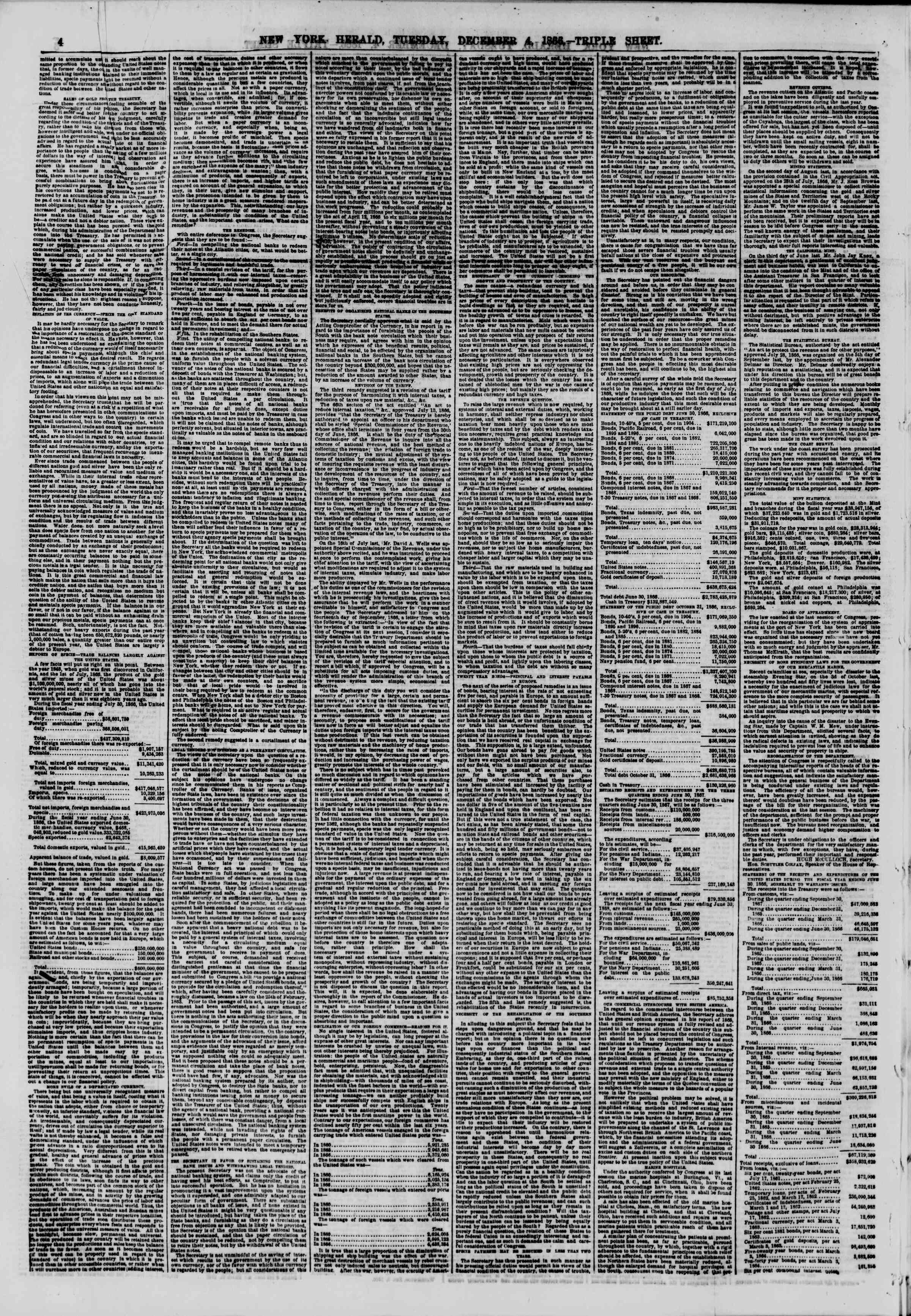Newspaper of The New York Herald dated December 4, 1866 Page 4