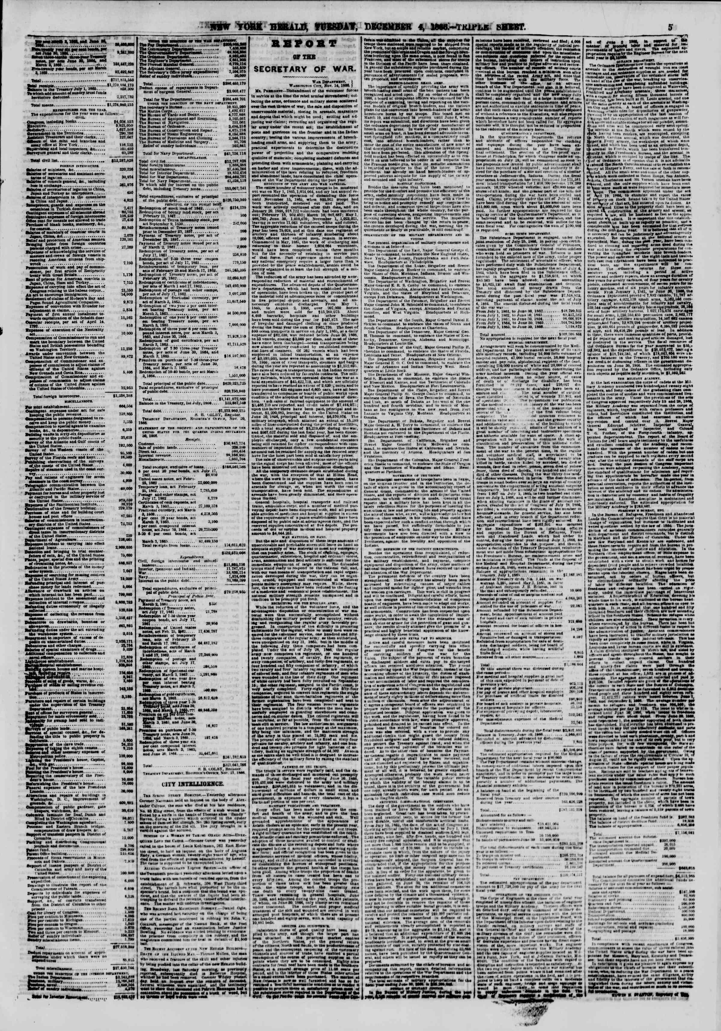 Newspaper of The New York Herald dated December 4, 1866 Page 5