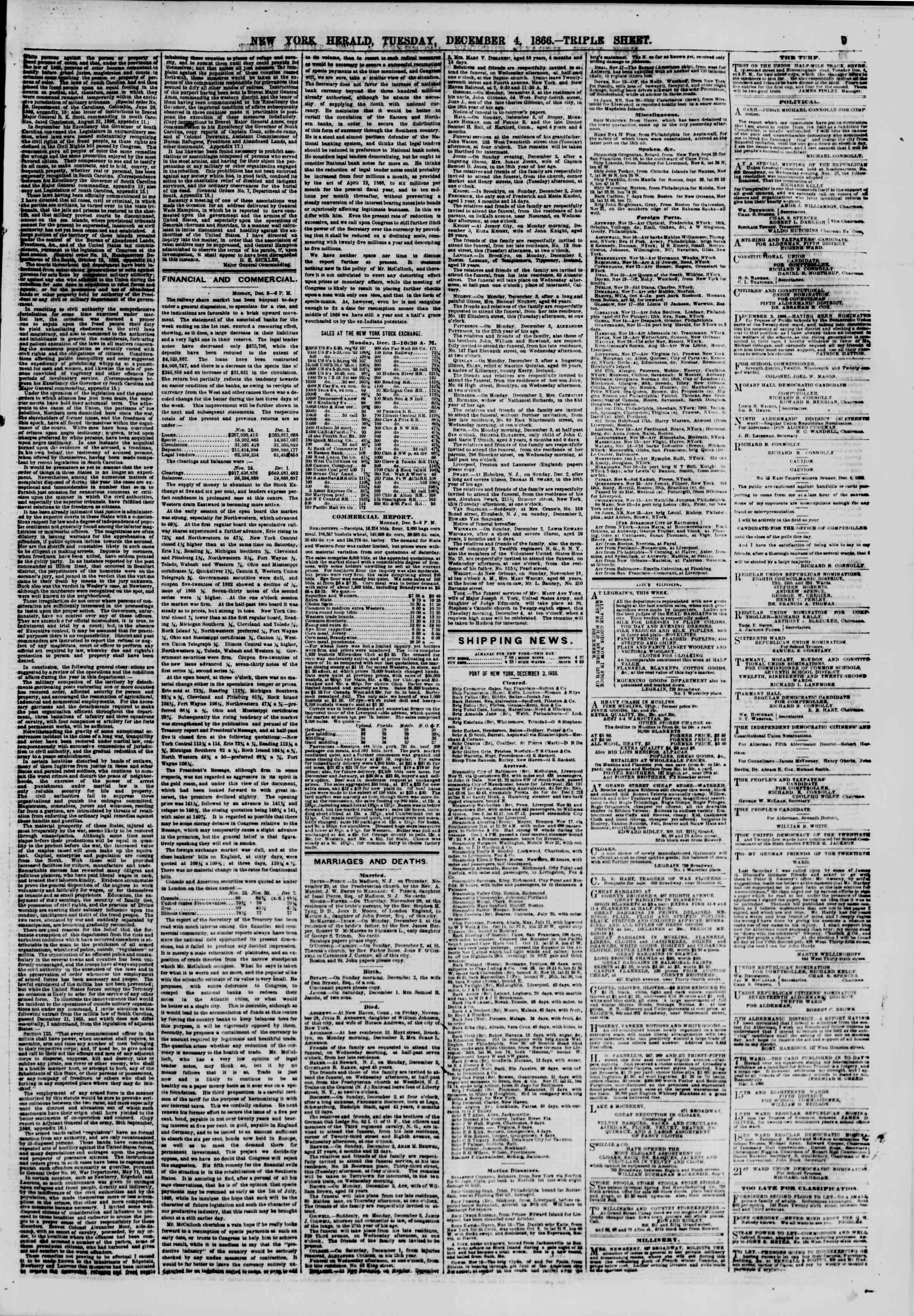 Newspaper of The New York Herald dated December 4, 1866 Page 9