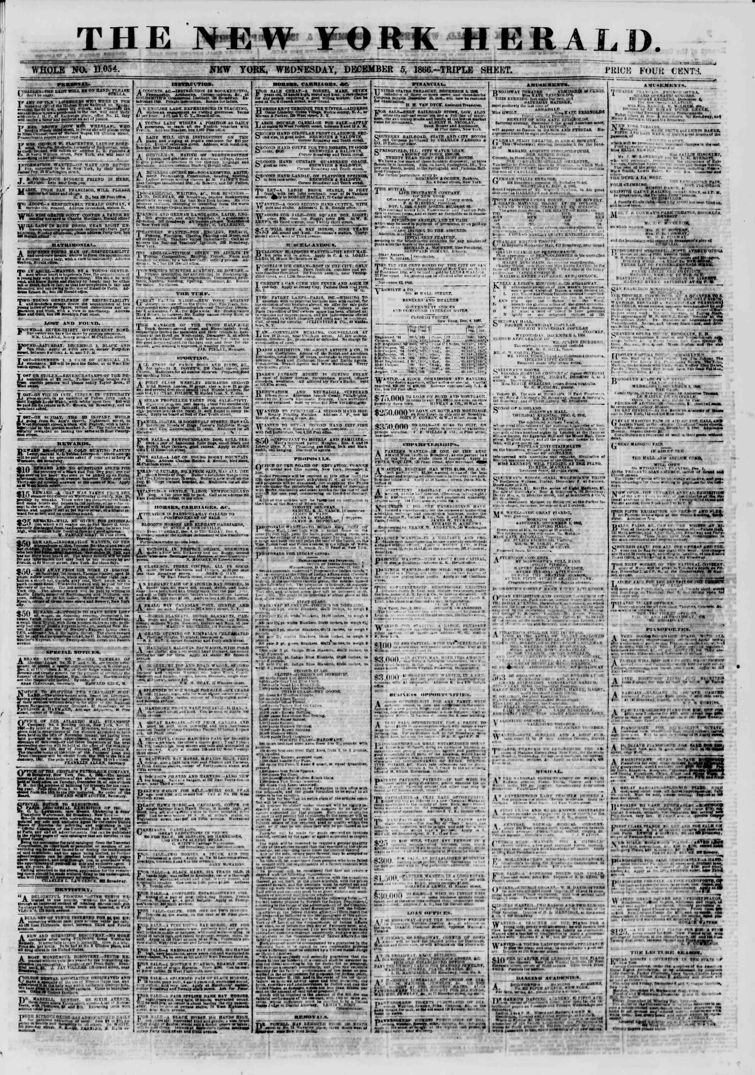 Newspaper of The New York Herald dated December 5, 1866 Page 1