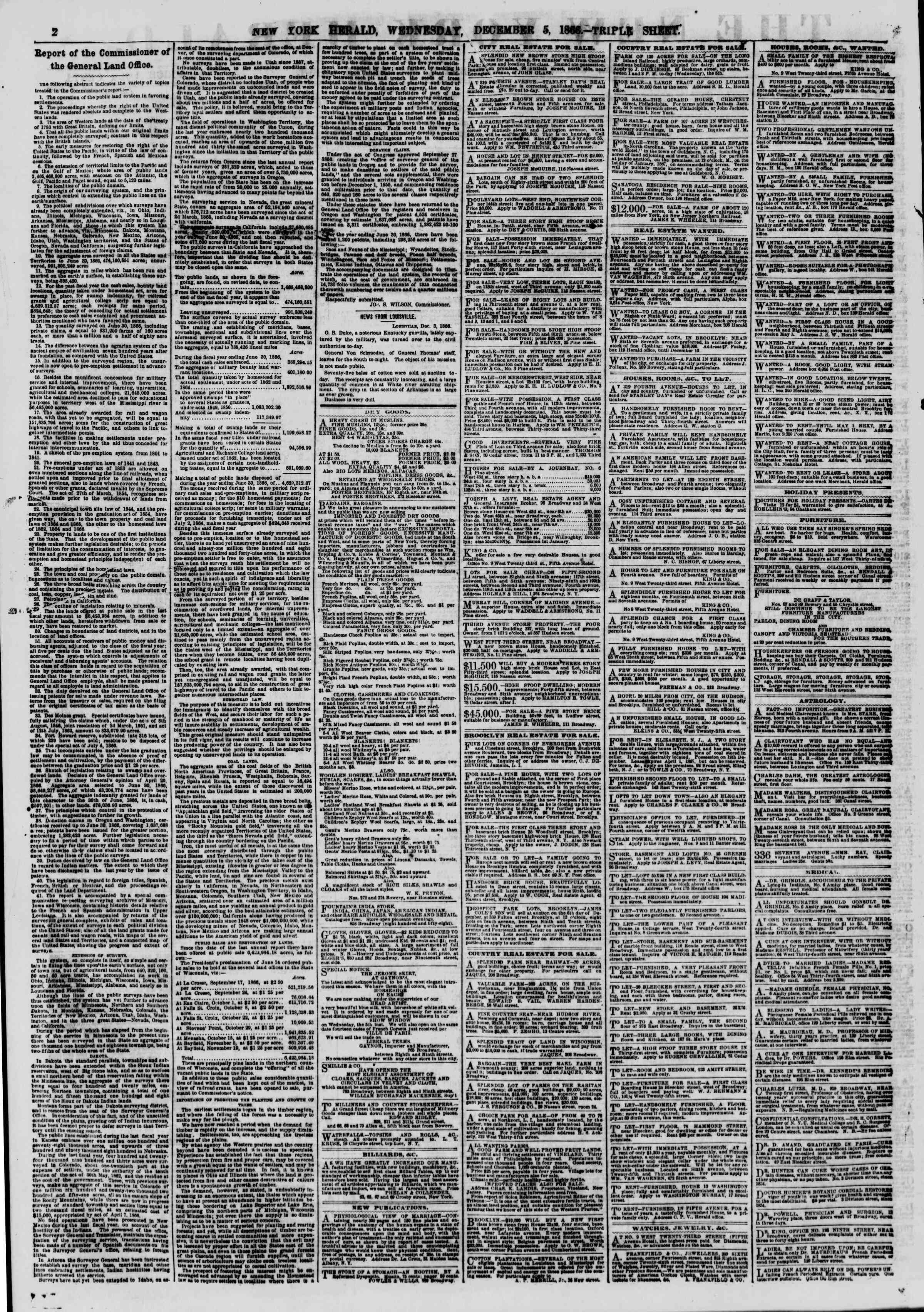 Newspaper of The New York Herald dated December 5, 1866 Page 2