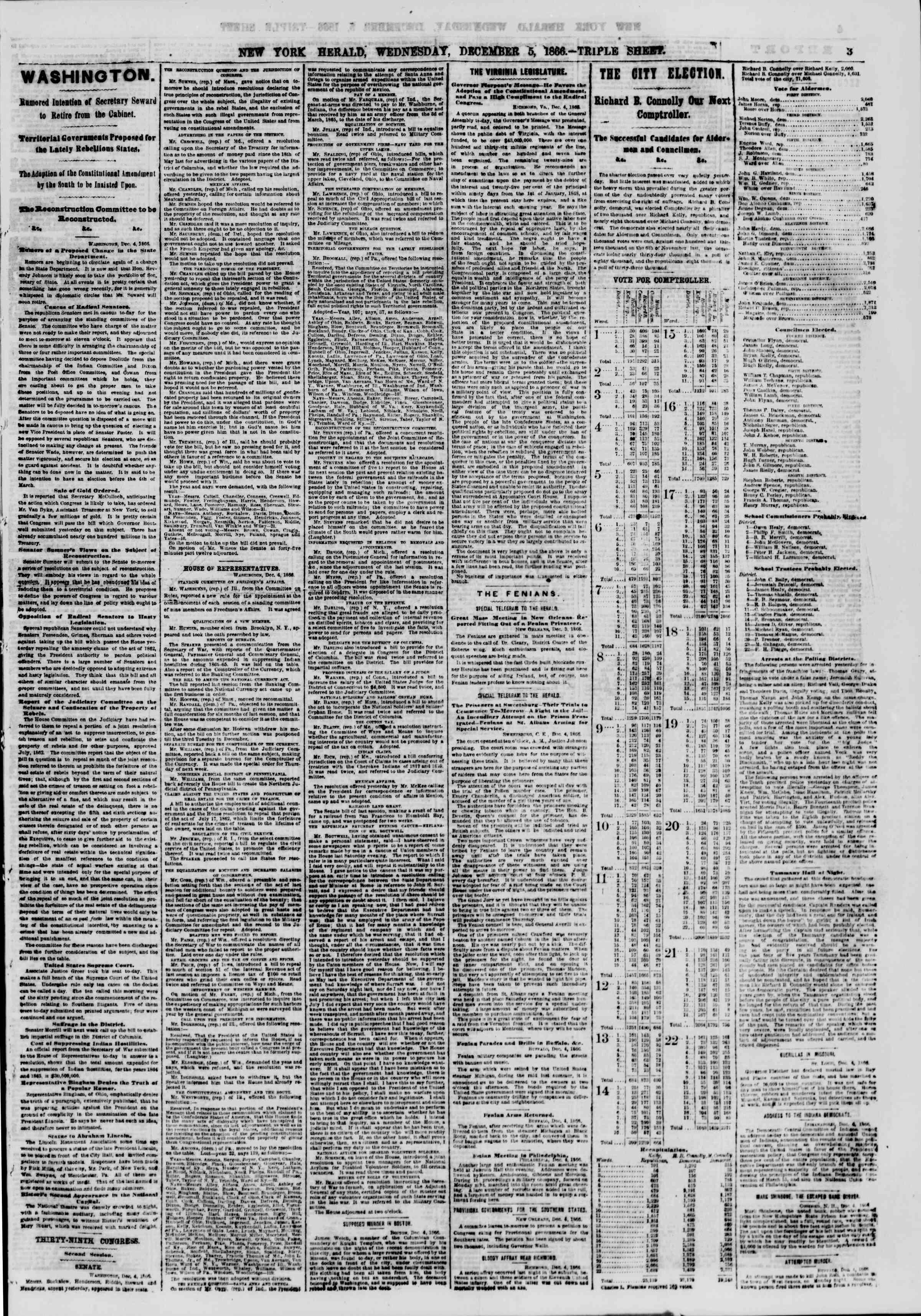 Newspaper of The New York Herald dated 5 Aralık 1866 Page 3