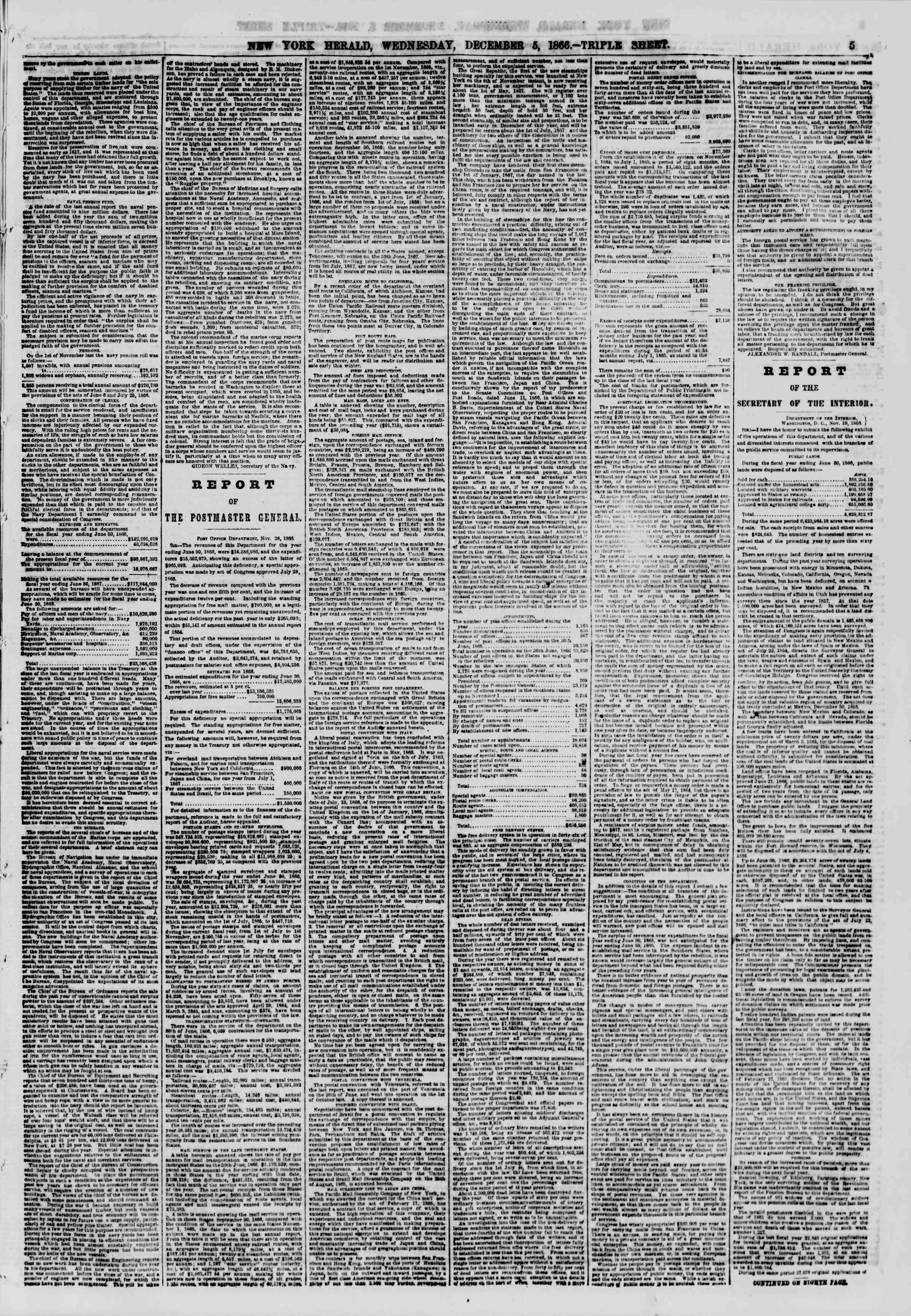 Newspaper of The New York Herald dated December 5, 1866 Page 5