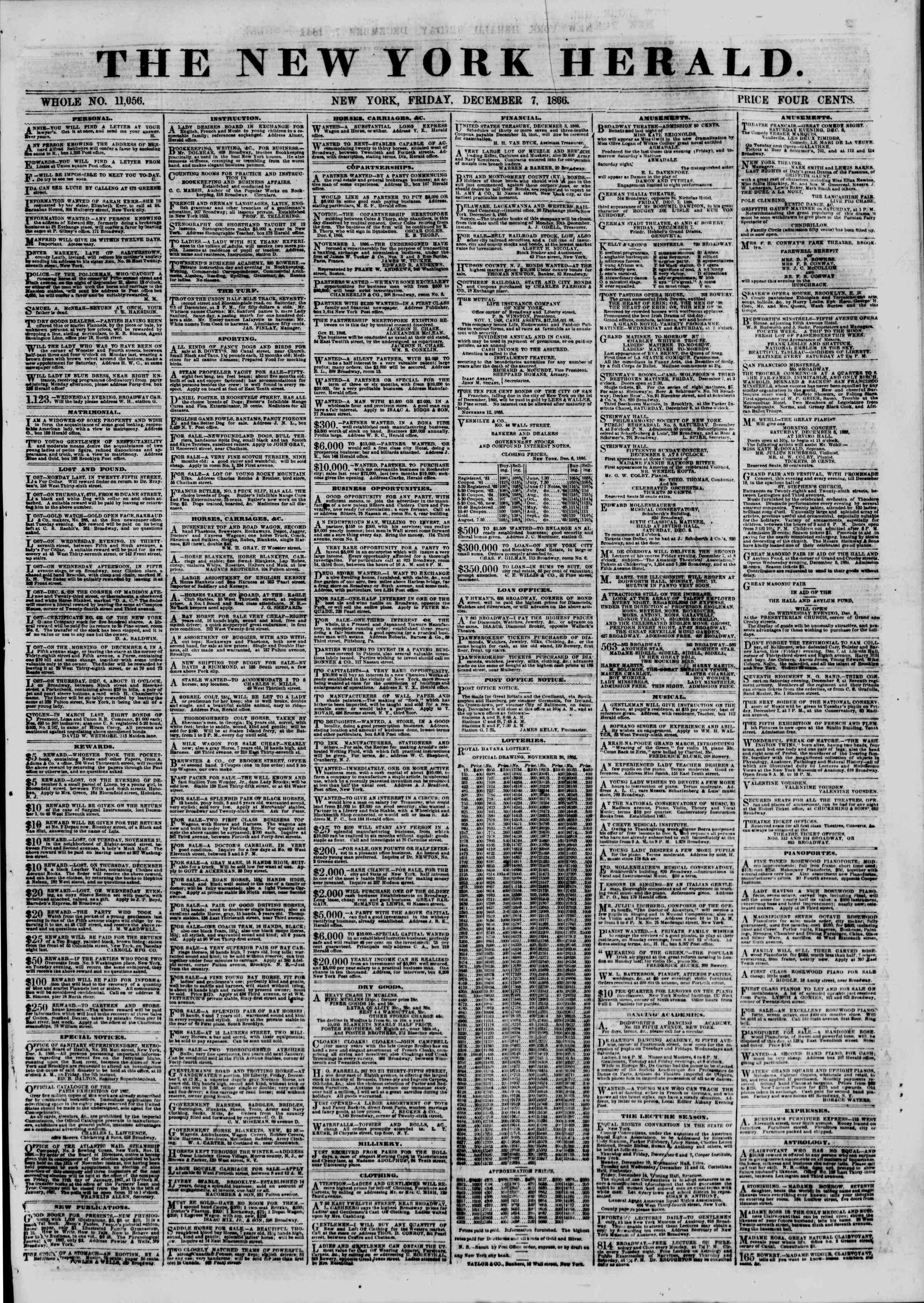 Newspaper of The New York Herald dated December 7, 1866 Page 1