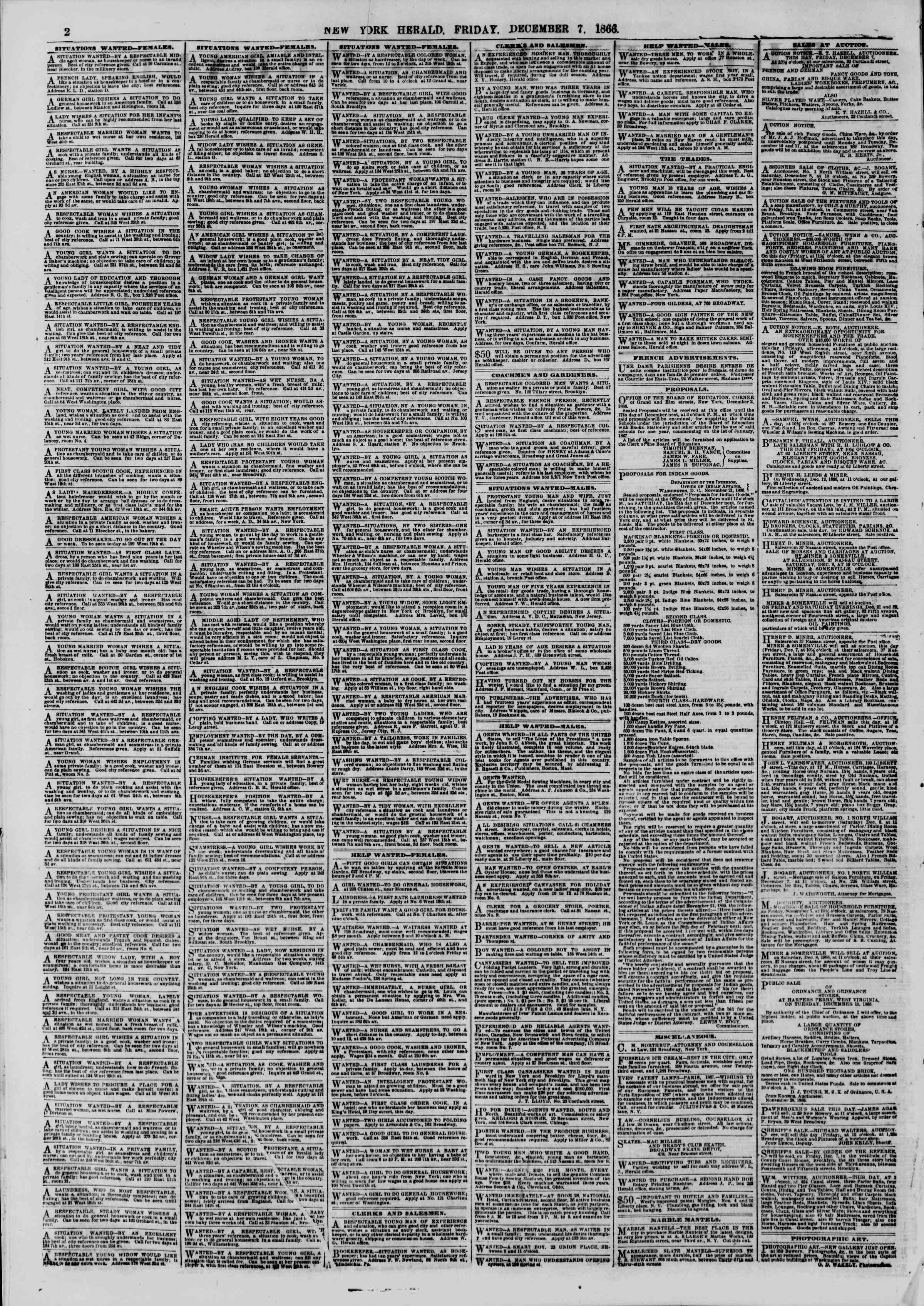 Newspaper of The New York Herald dated December 7, 1866 Page 2