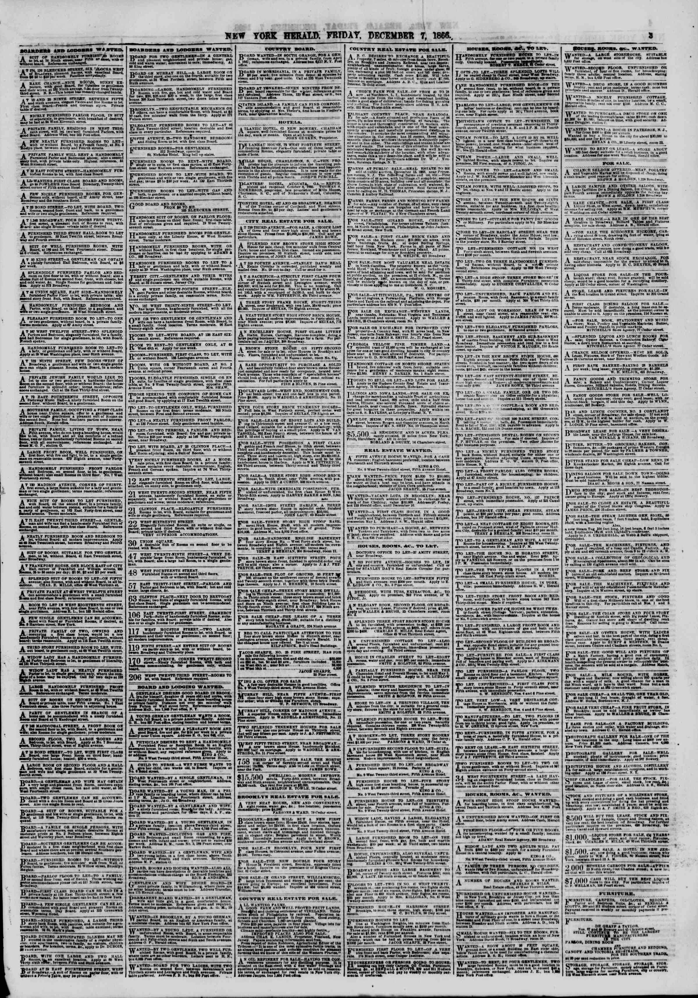 Newspaper of The New York Herald dated December 7, 1866 Page 3