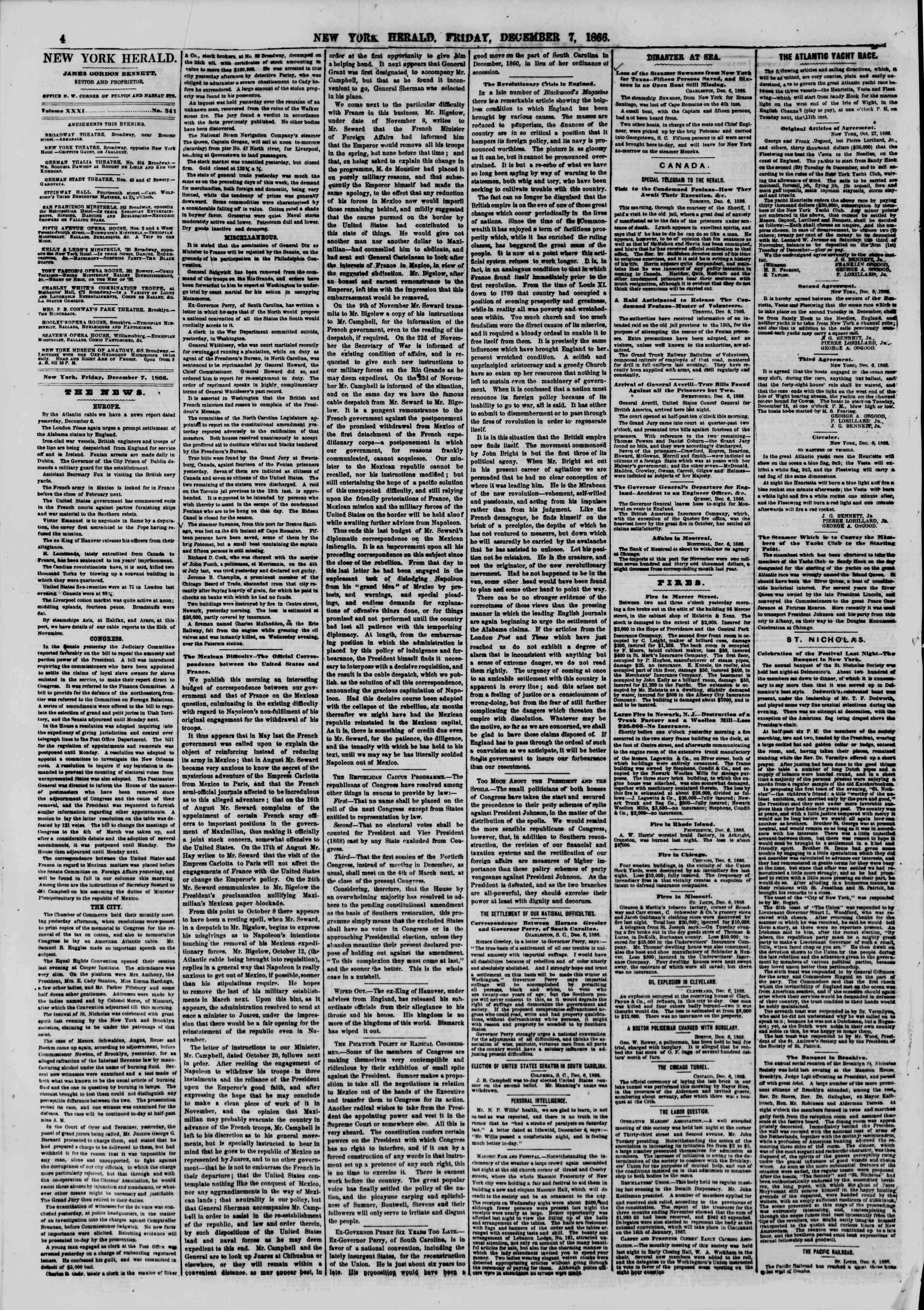 Newspaper of The New York Herald dated December 7, 1866 Page 4