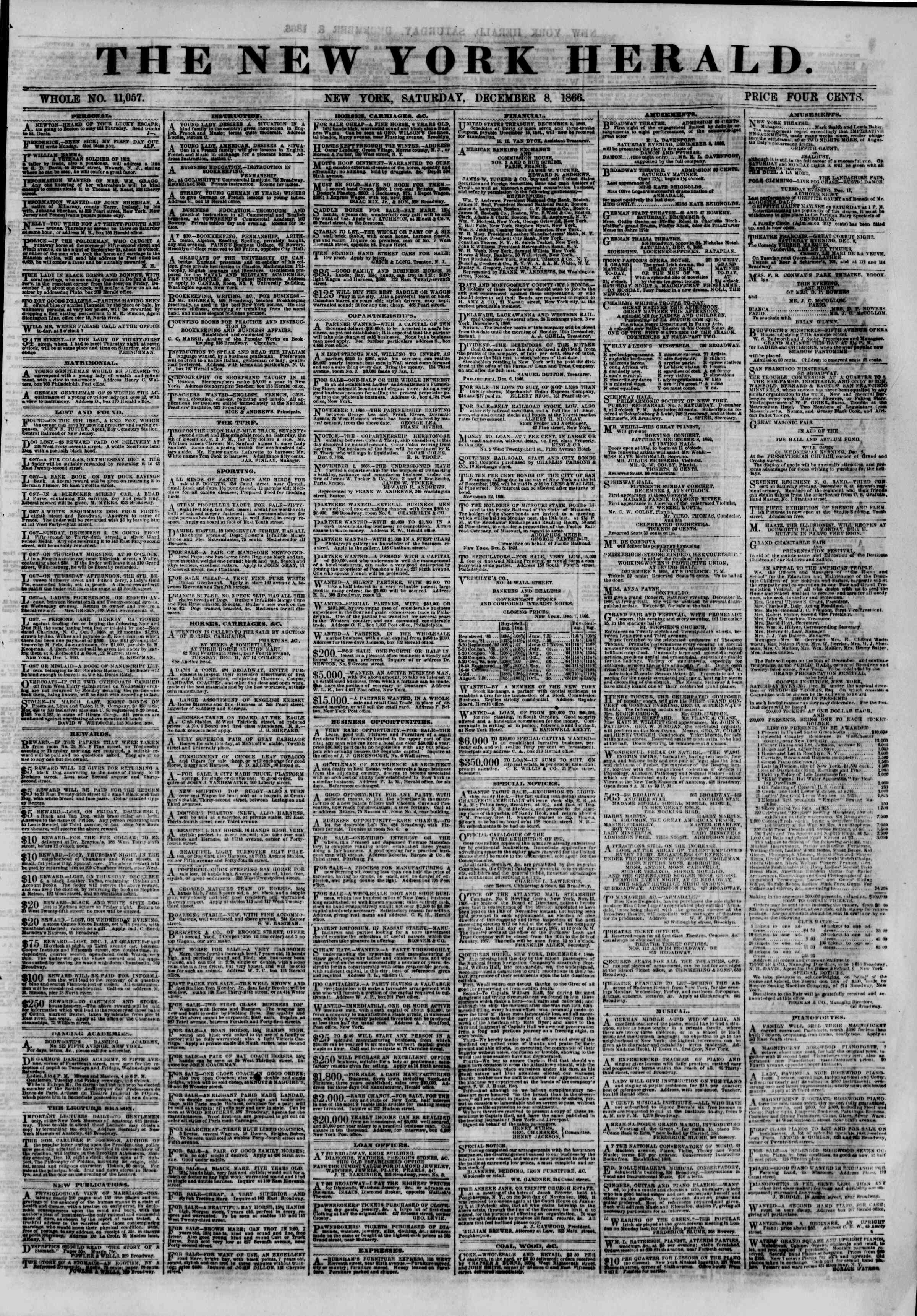 Newspaper of The New York Herald dated December 8, 1866 Page 1
