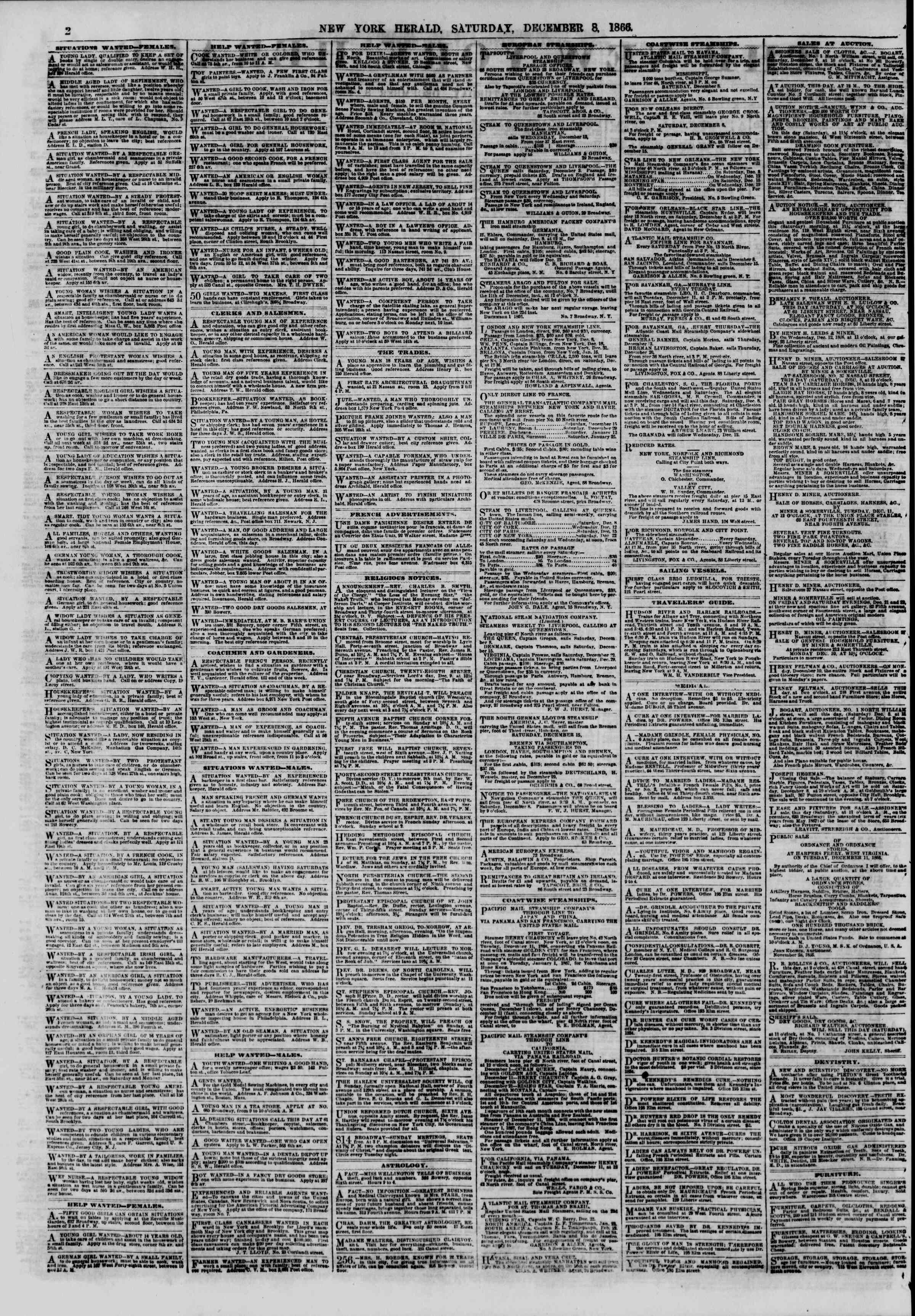 Newspaper of The New York Herald dated December 8, 1866 Page 3